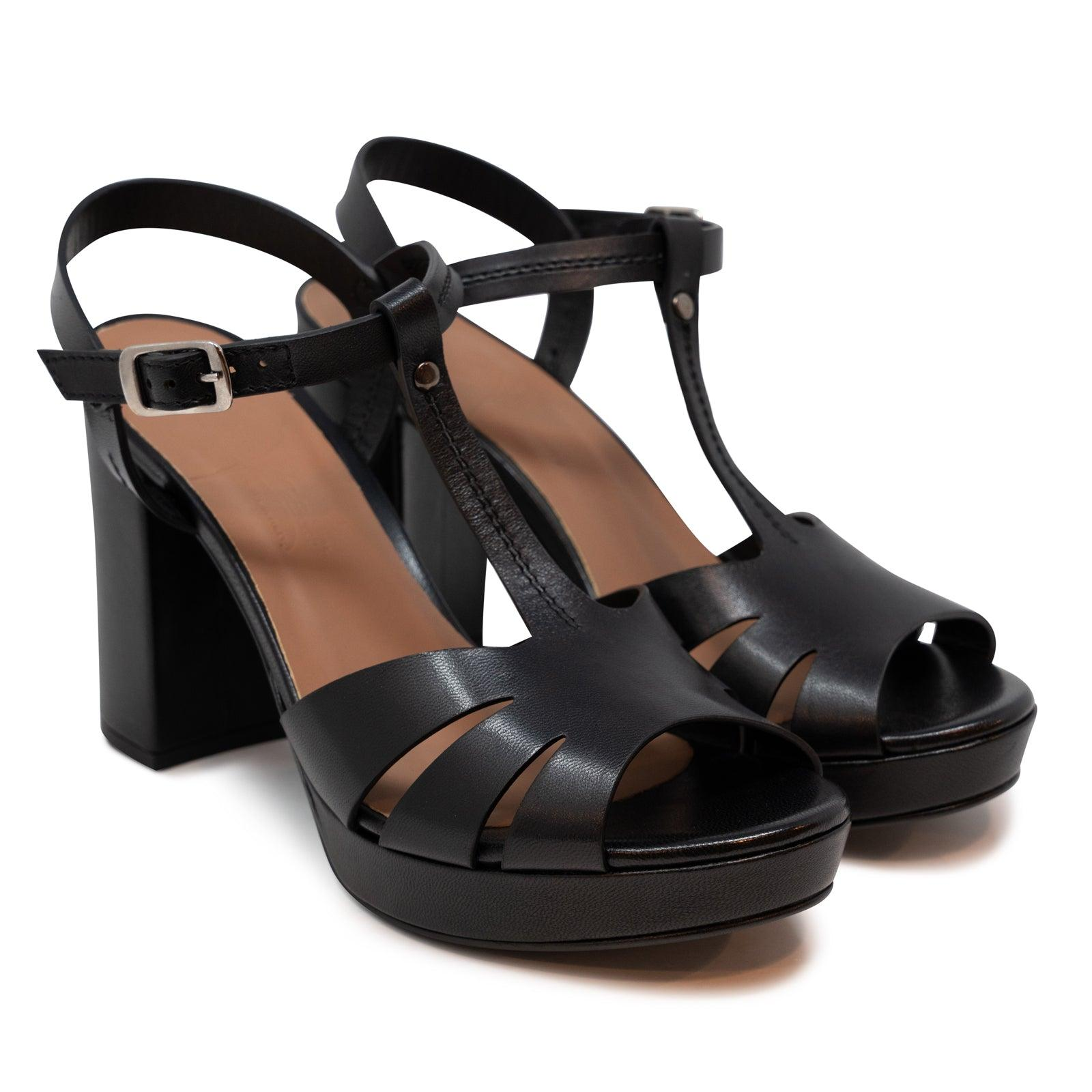 Women's Buffered Leather Platform Sandals in Black