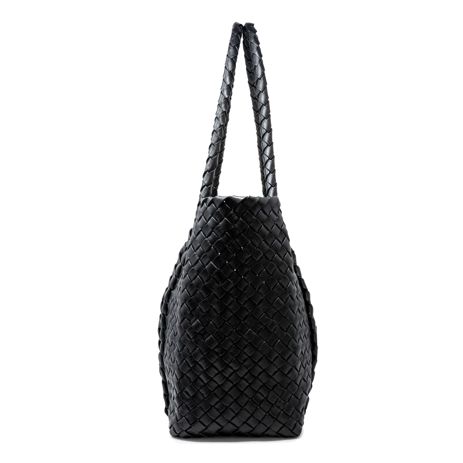Infinity Intrecciato Women Leather Large Tote Bag in Black - Jennifer Tattanelli