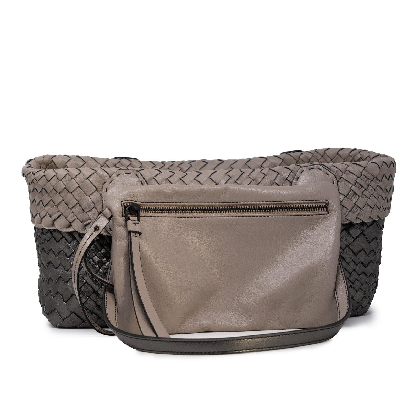 Women Leather Intreccio Optical Leather Bag in Putter and Taupe