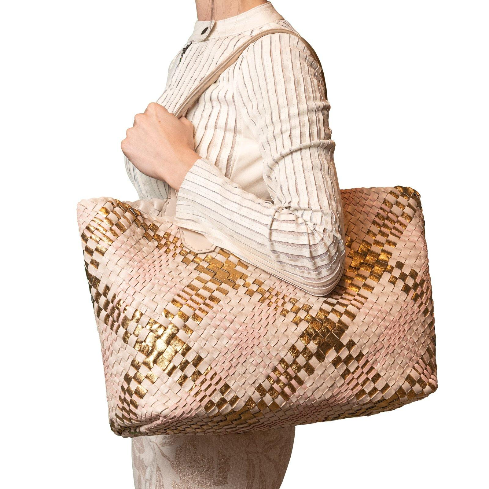 Women Leather Intreccio Scozzese Reversible Bag in Sabbia, Gold and Pink