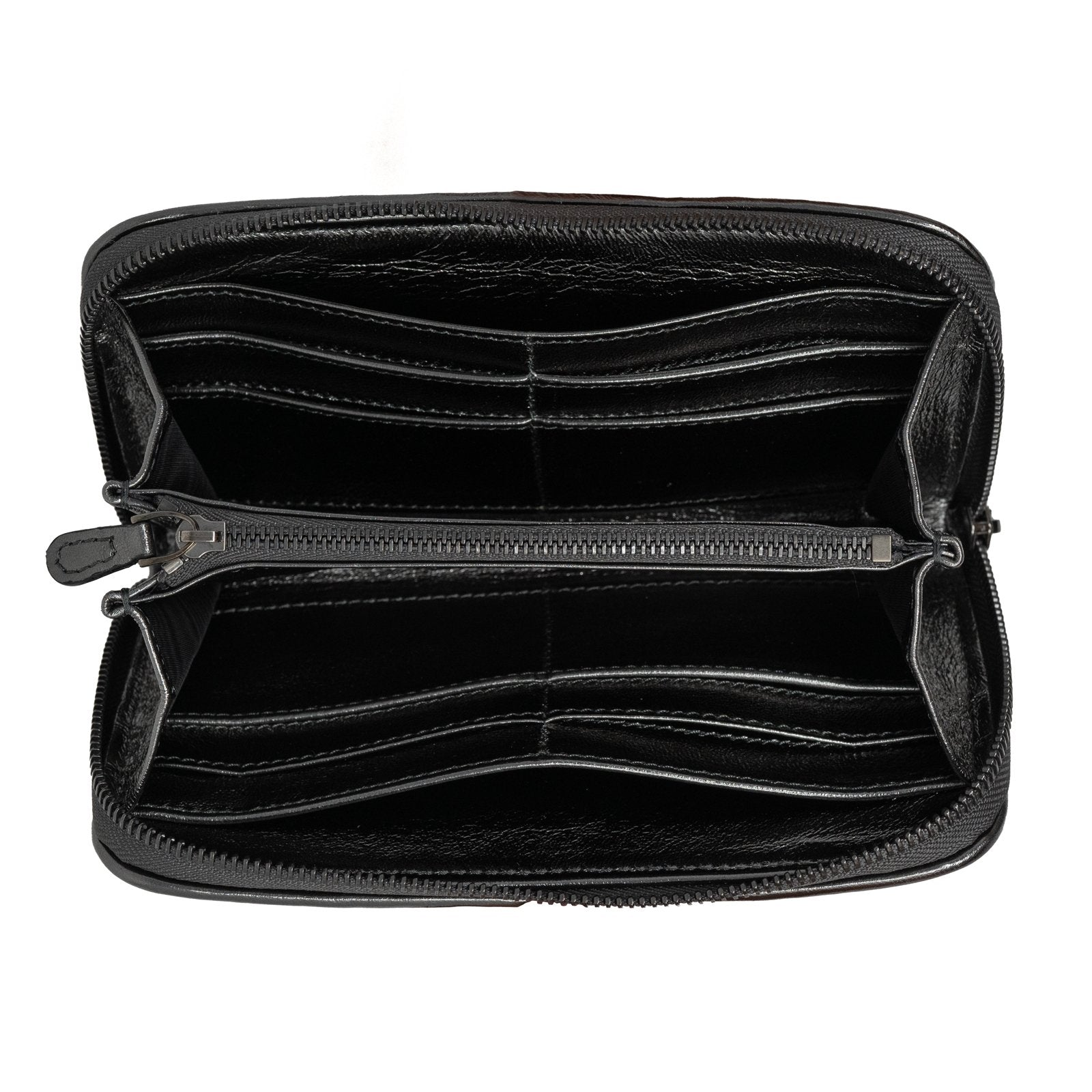 Women Intrecciato Optical Leather Zippered Wallet Black Nappa and Suede - Jennifer Tattanelli