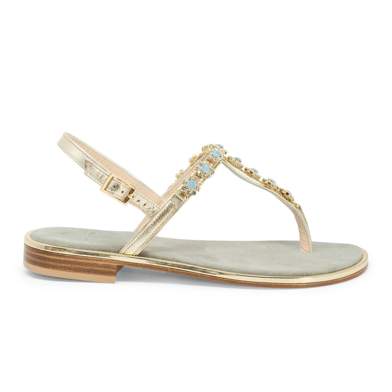 Women's Jewelled Sandals in Platinum - Jennifer Tattanelli