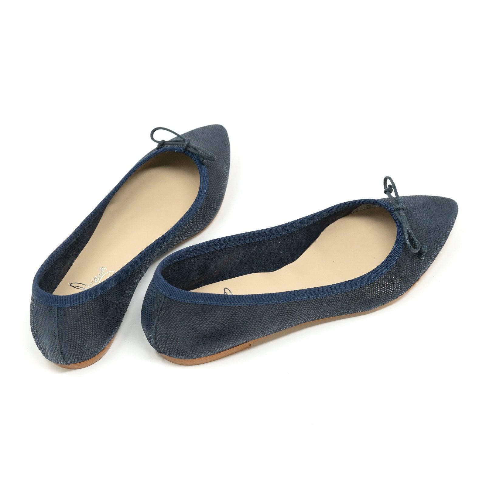 Women's Pointed Slip On Ballerina Flats in Blue - Jennifer Tattanelli
