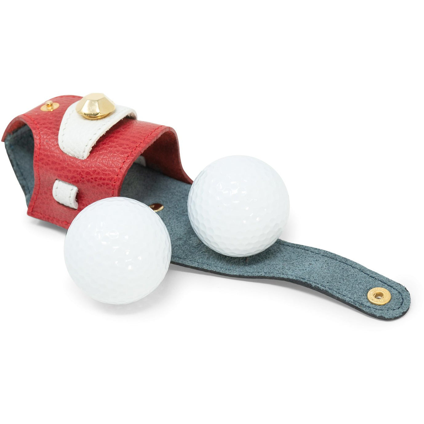 Leather 2 golf balls holder JT352 6046 - Jennifer Tattanelli
