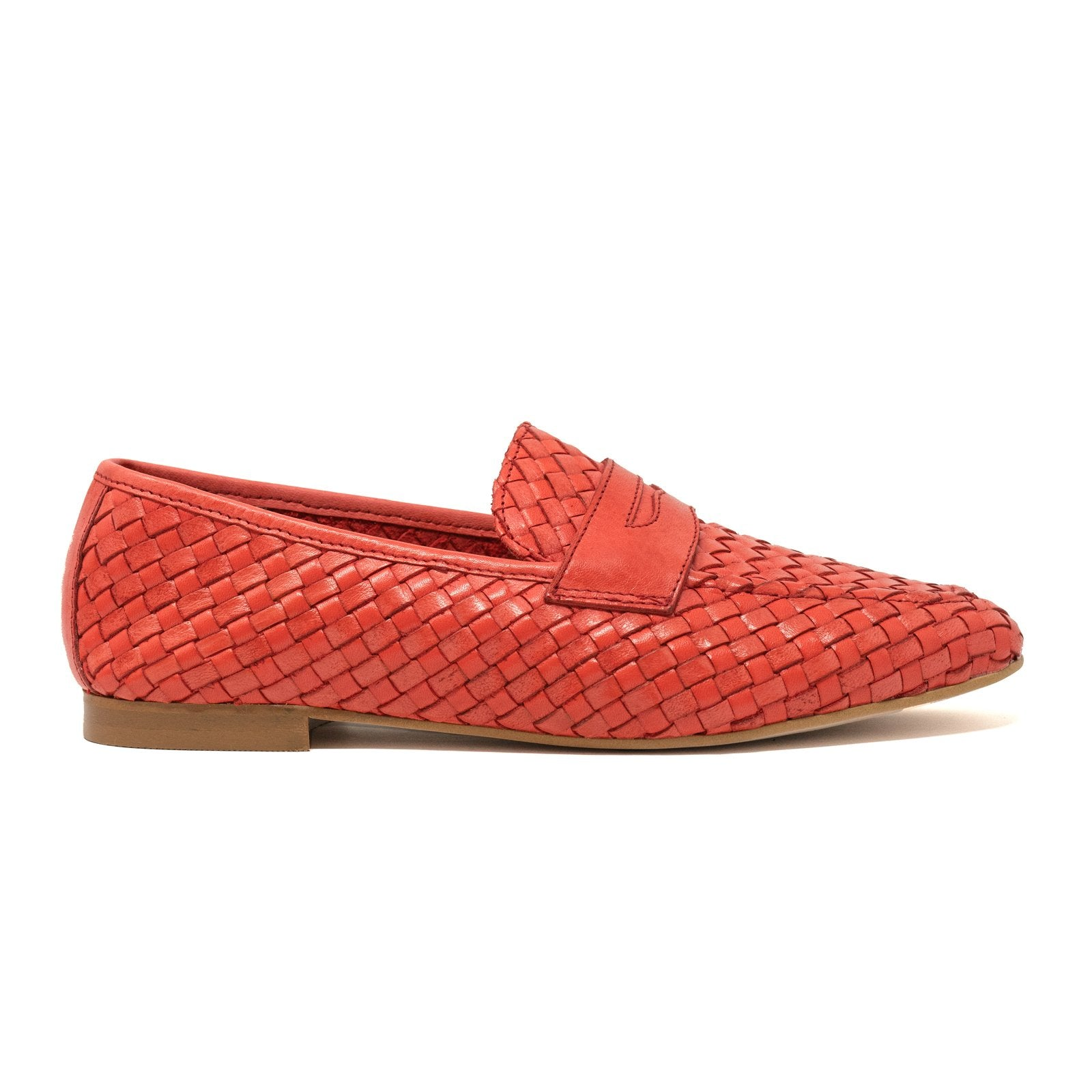 Women's Leather Loafers in Intrecciato Red - Jennifer Tattanelli