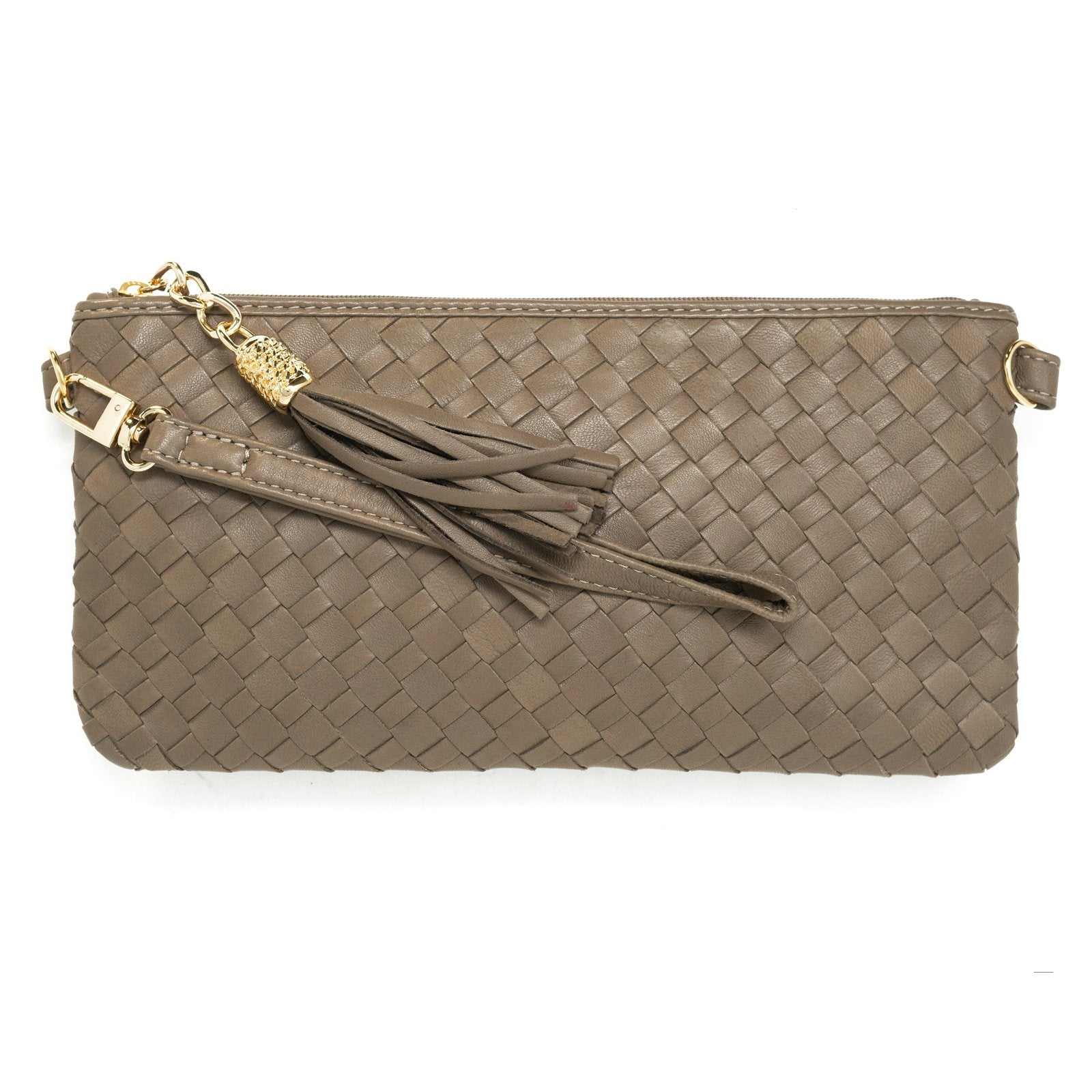 Women Intrecciato Leather Small Soft Clutch Taupe Intreccio Quadro - Jennifer Tattanelli