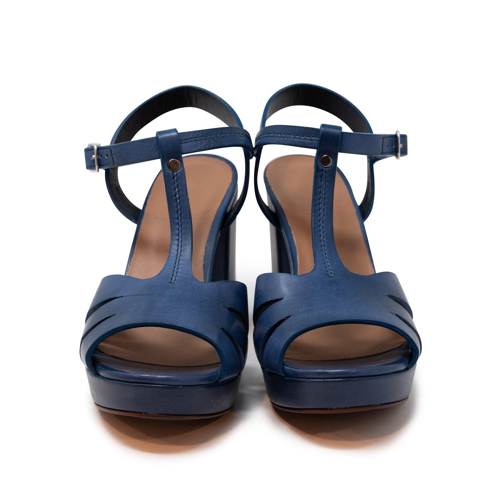 Women's Buffered Leather Platform Sandals in Oltremare