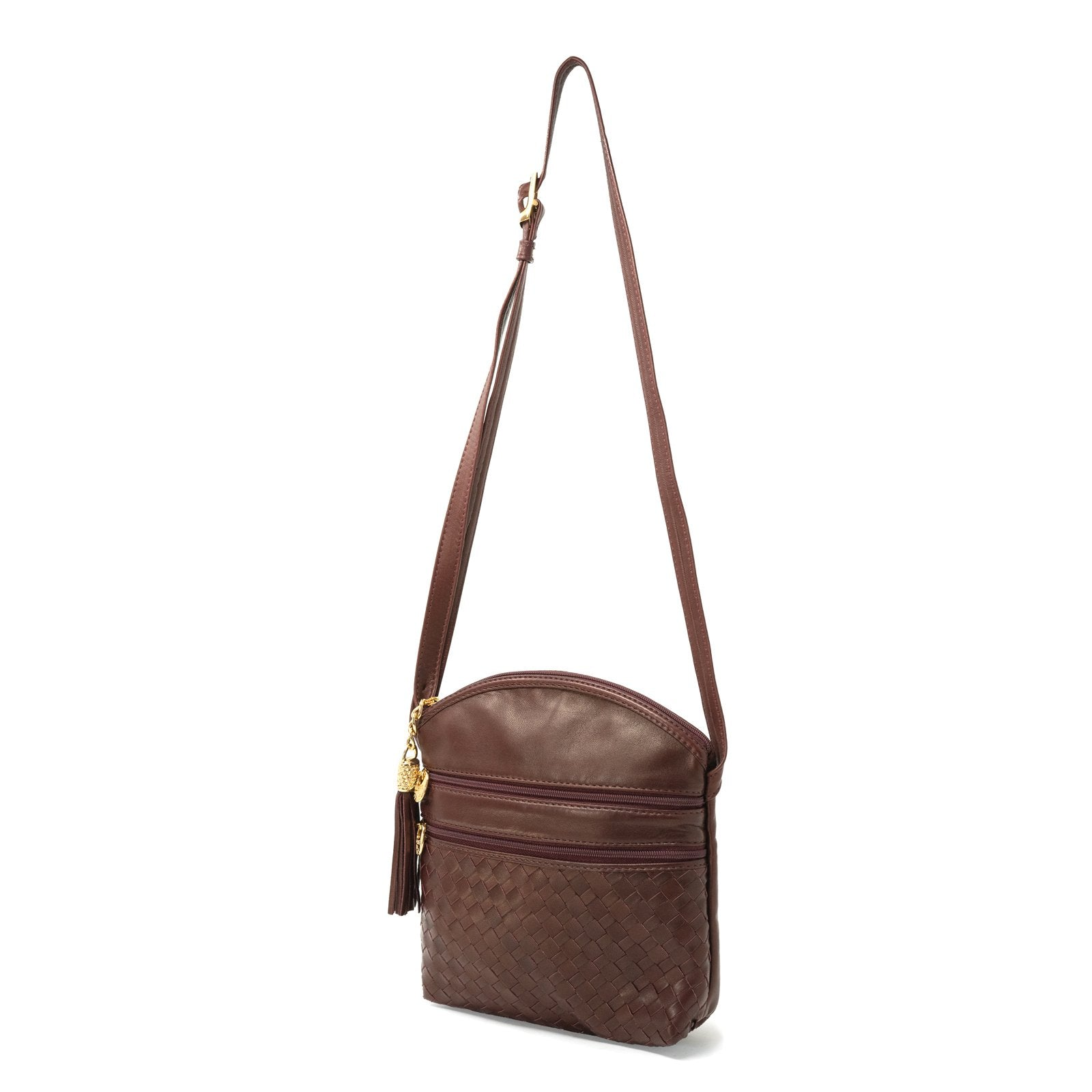 Women Intrecciato Leather Soft Messenger LUC963 Burgundy Quadro - Jennifer Tattanelli