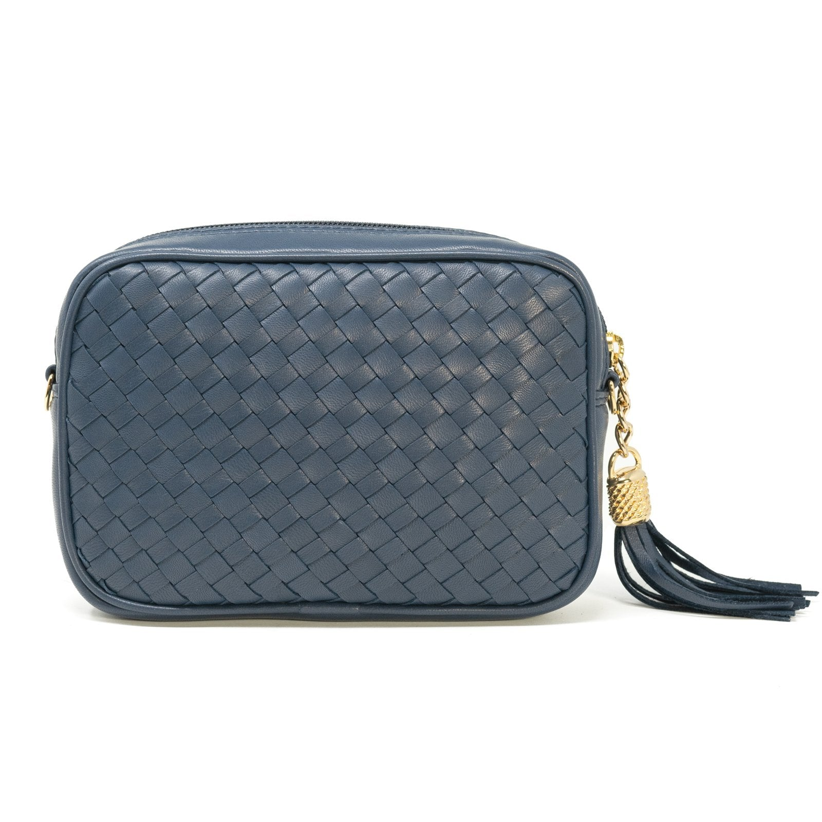 Women Intrecciato Leather Soft Zippered Clutch with Shoulder Chain LUC1521 Blue Intreccio Quadro - Jennifer Tattanelli