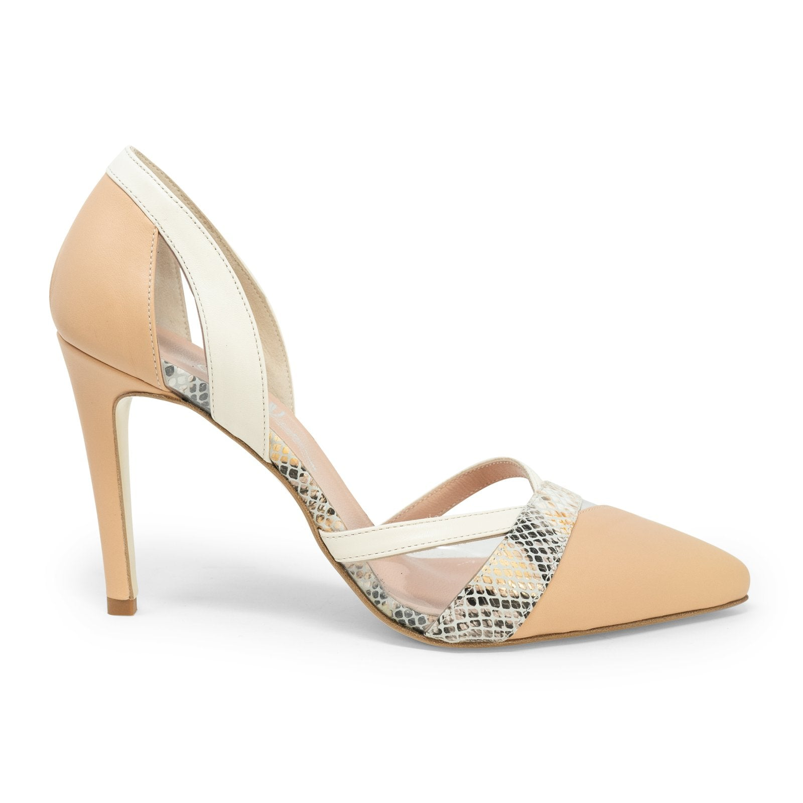 Women Python Stilettos in Nude - Jennifer Tattanelli