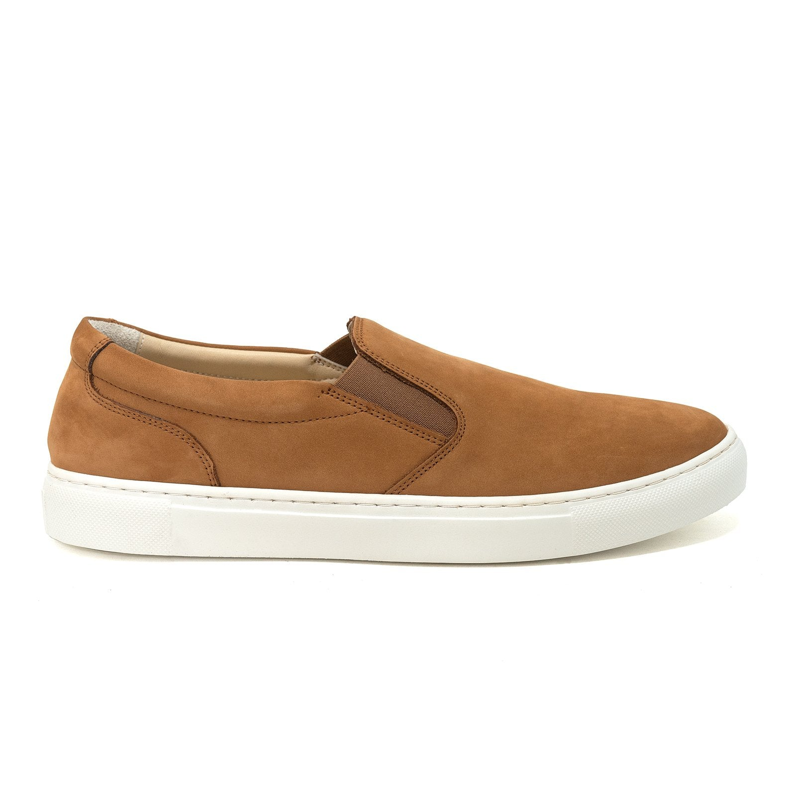 Men and Women Slip-On Sneakers in Nabuk Cinnamon - Jennifer Tattanelli