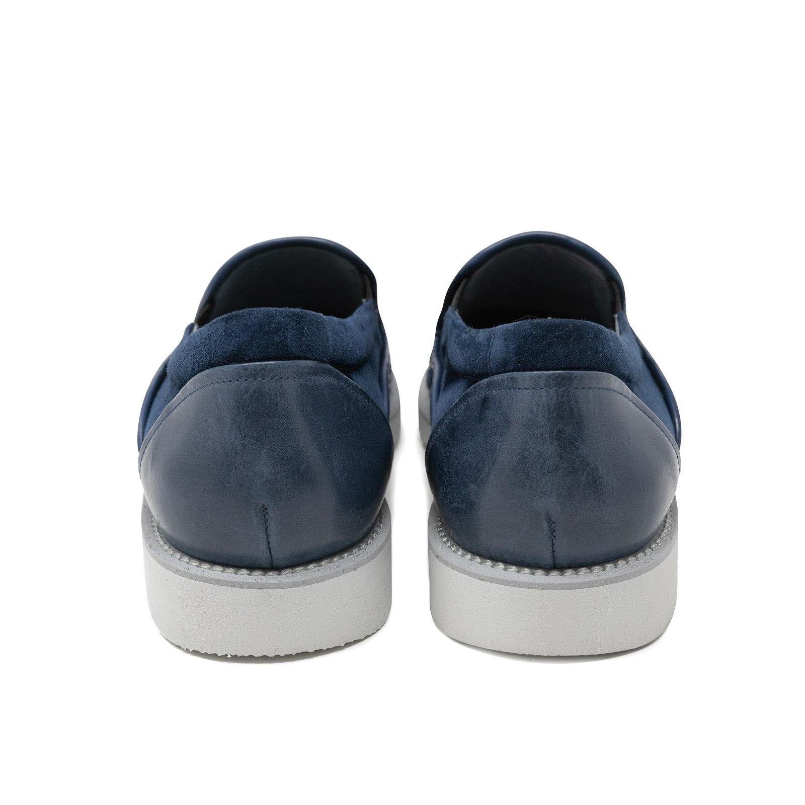 Men Slip On Leather Shoes in Blue Suede