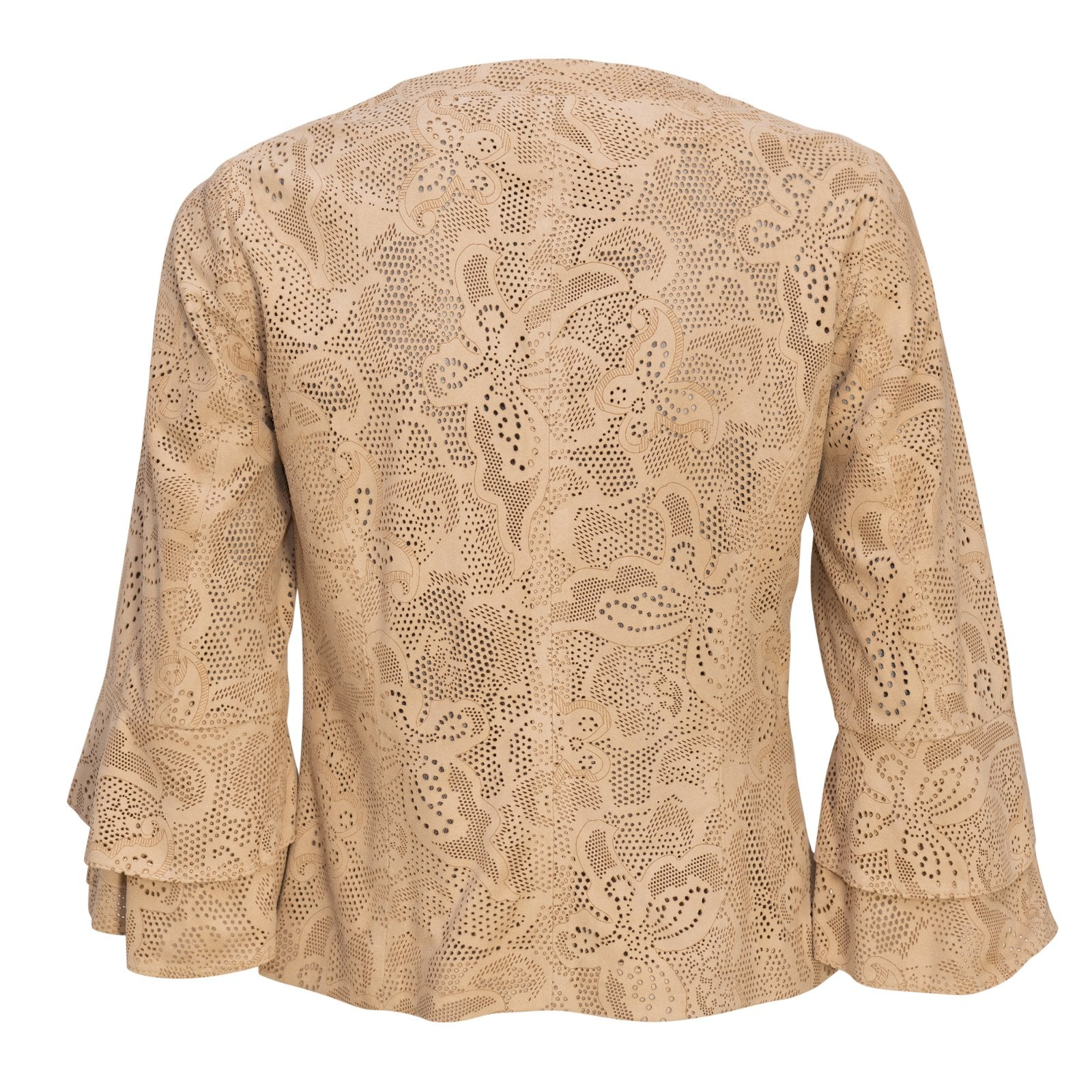 Women Short Laser-Cut Leather Jacket in Mastic - Jennifer Tattanelli