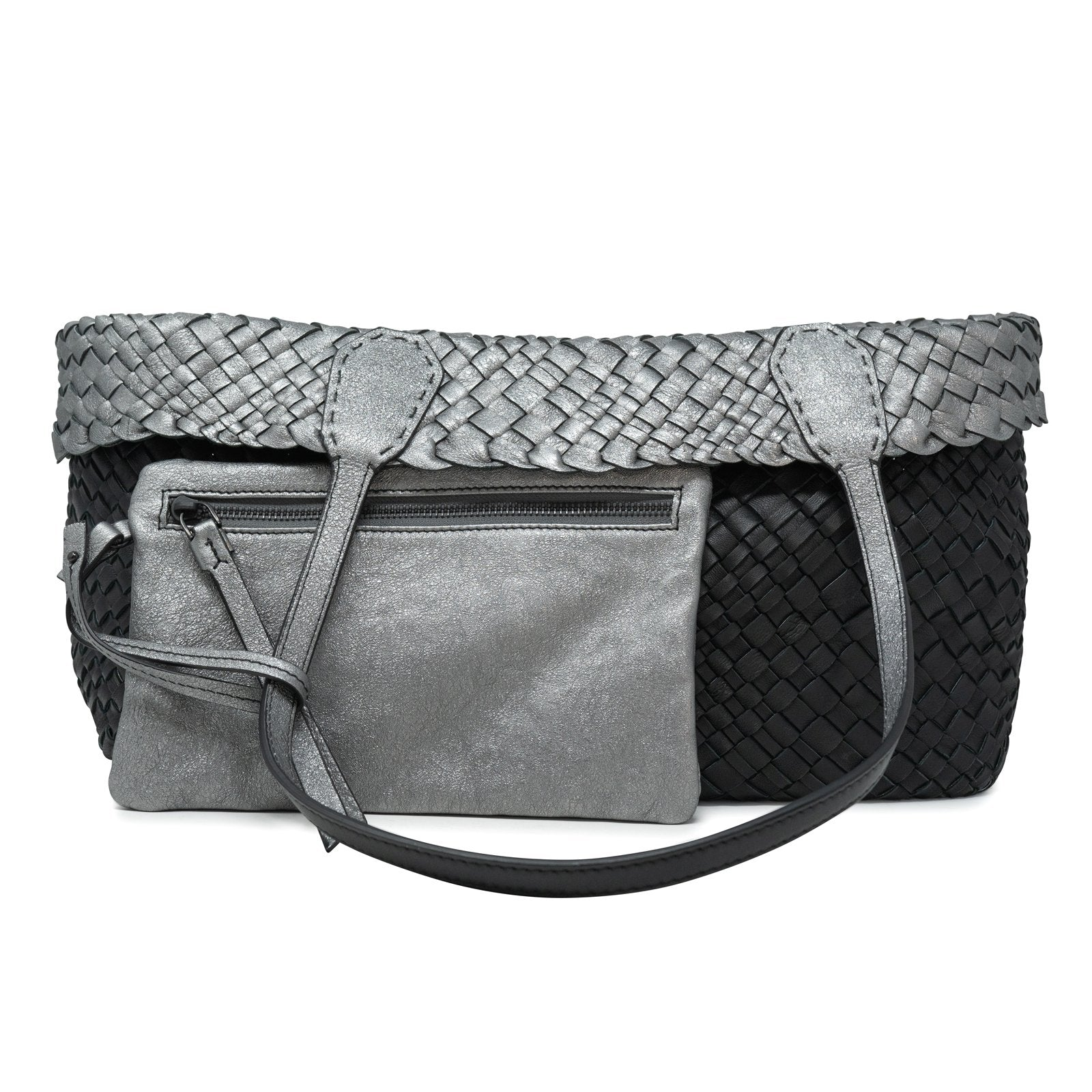 Women Intrecciato Optical Reversible Shopping Bag in Black and Silver - Jennifer Tattanelli