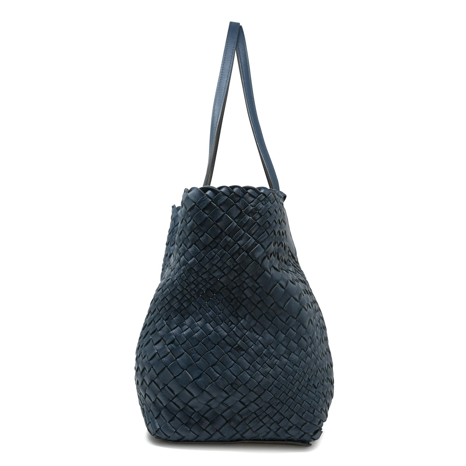 Women Intrecciato Optical Reversible Shopping Bag in Black and Blue - Jennifer Tattanelli