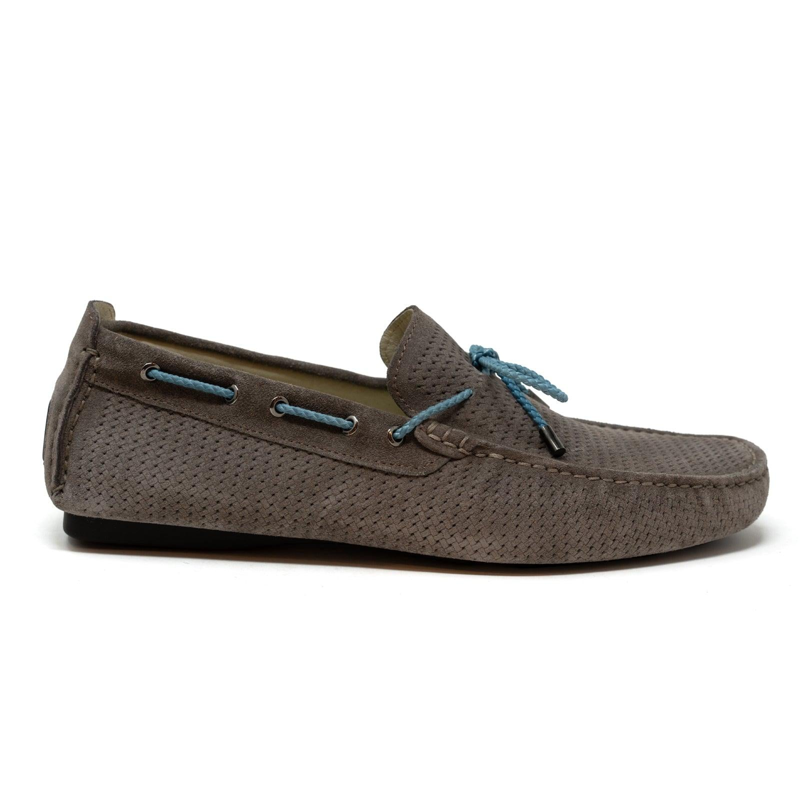 Men's Car Shoes in  Velour Taupe Leather