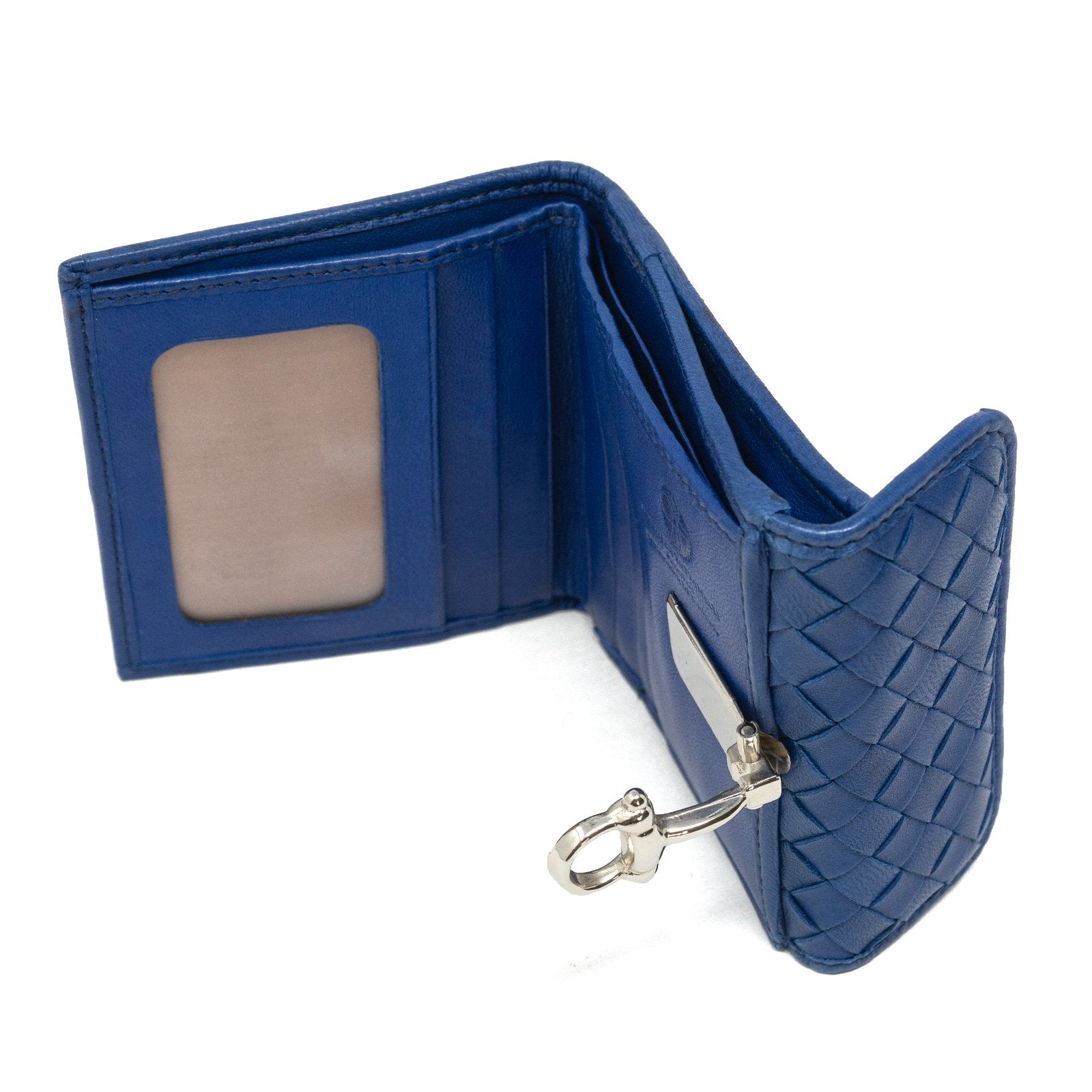 Women Intrecciato Horsebit Leather Wallet in White - Jennifer Tattanelli