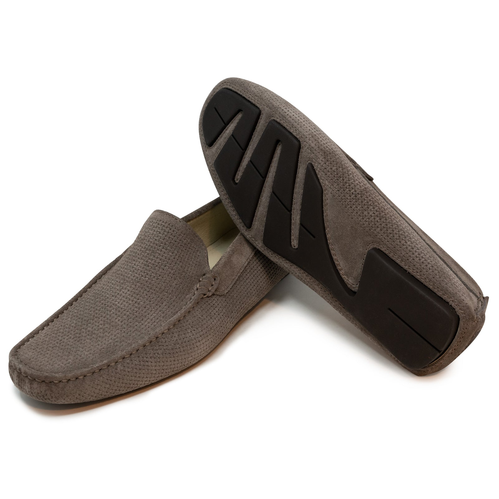 Men's Driving Shoes in Velour Taupe Leather