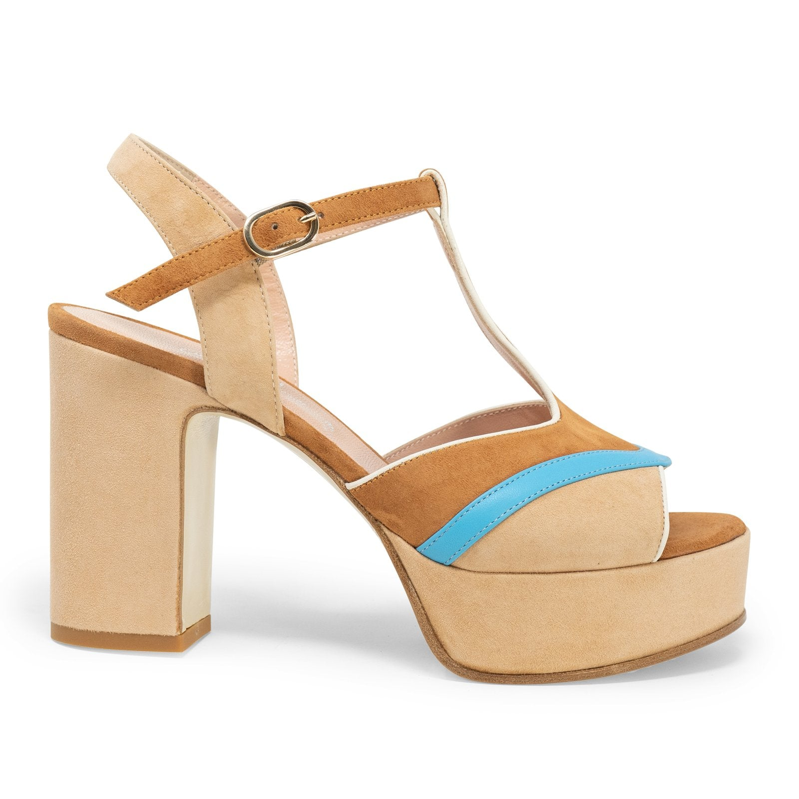 Women Peep-Toe Sandal Pumps in Cuoio - Jennifer Tattanelli