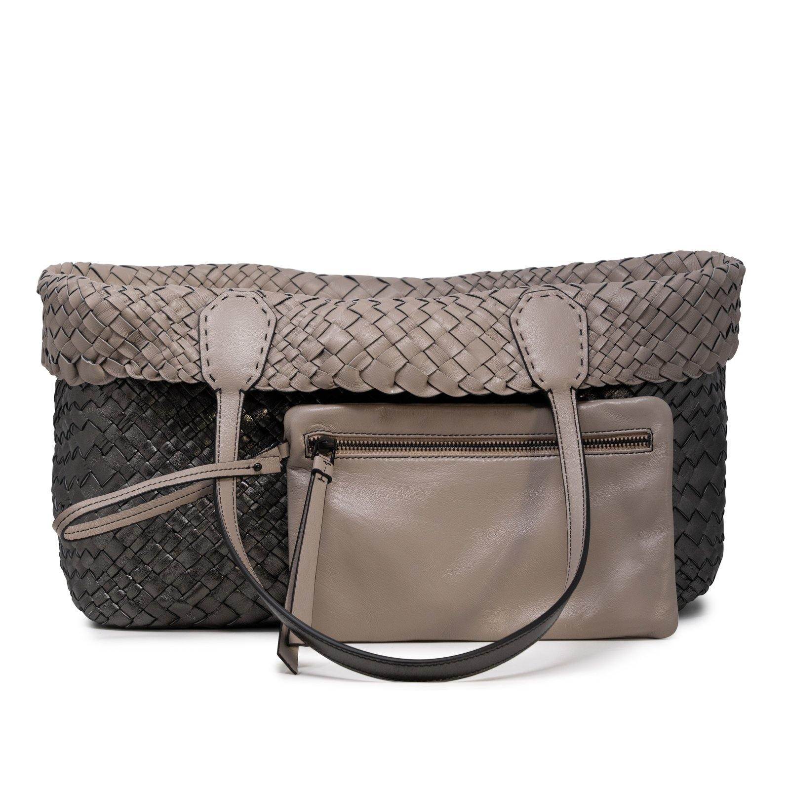 Women Leather Intreccio Optical Reversible Bag in Putter and Taupe