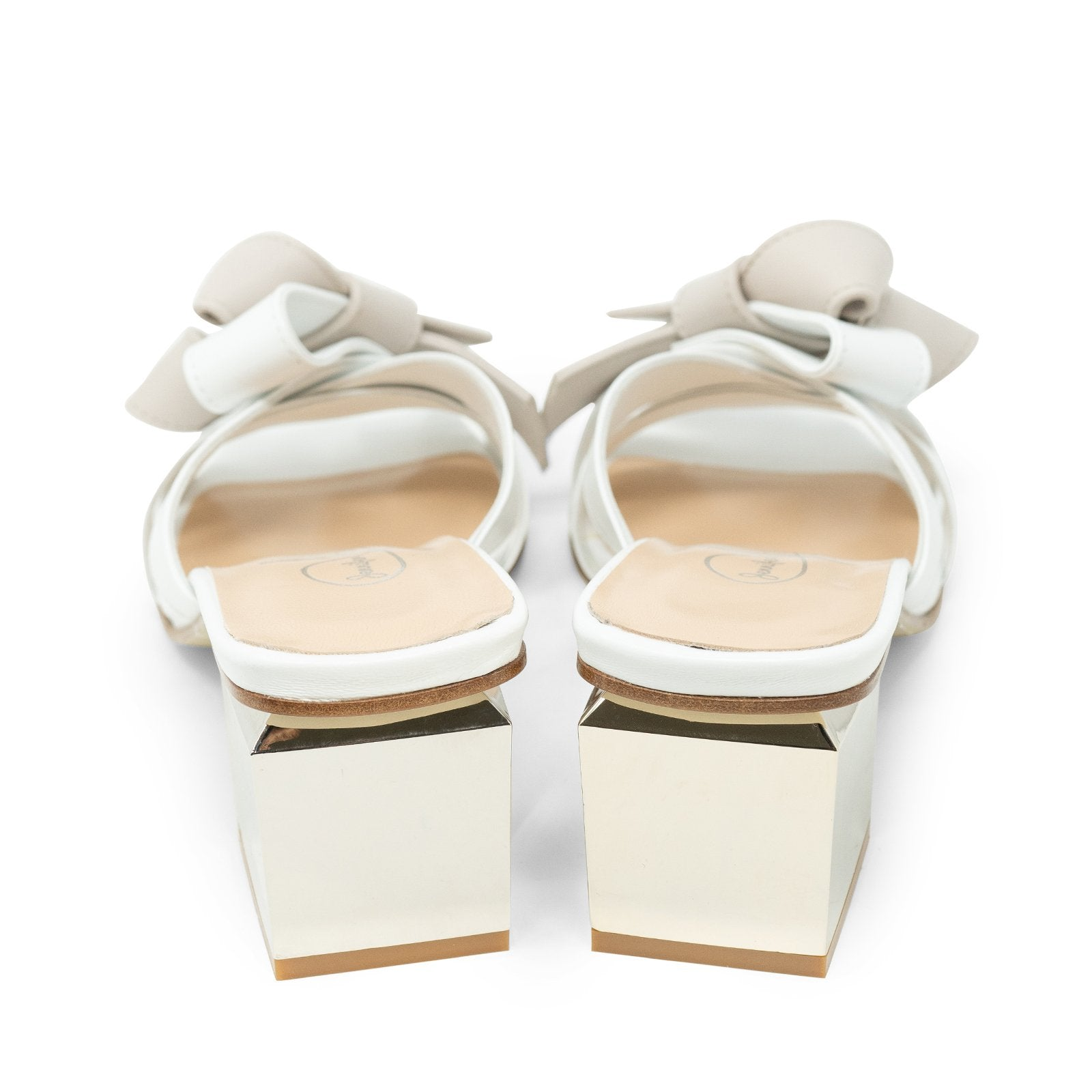 Women Slip On Block Heel Sandals in White - Jennifer Tattanelli