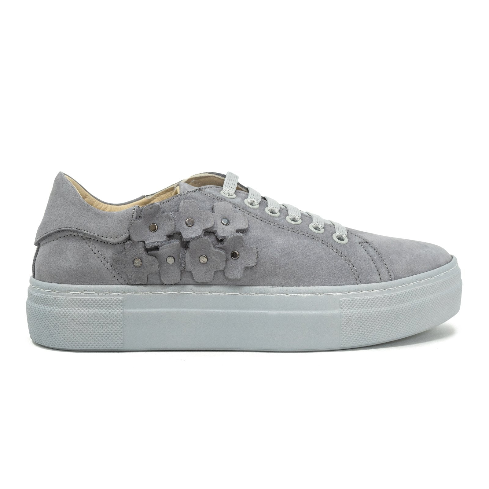 Women Flower Memory Foam Sneakers in Steel Blu - Jennifer Tattanelli