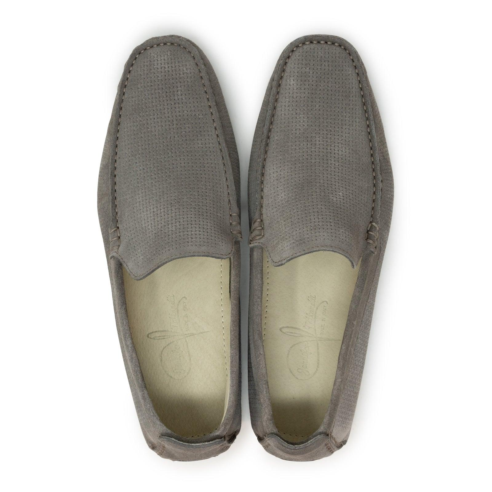 Men's Driving Shoes in Velour Softy Taupe Leather