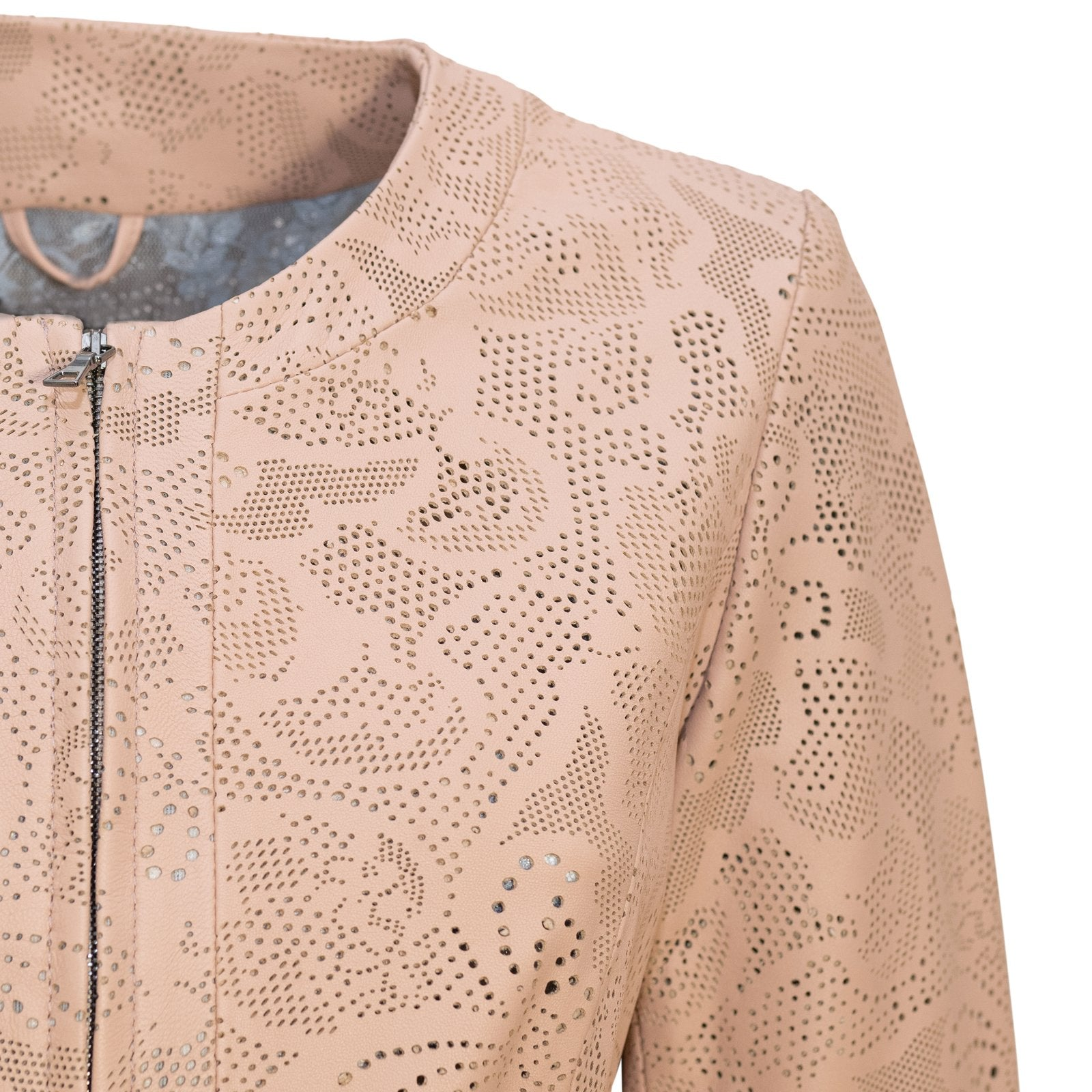 Women Short Laser-Cut Leather Jacket in Nude - Jennifer Tattanelli