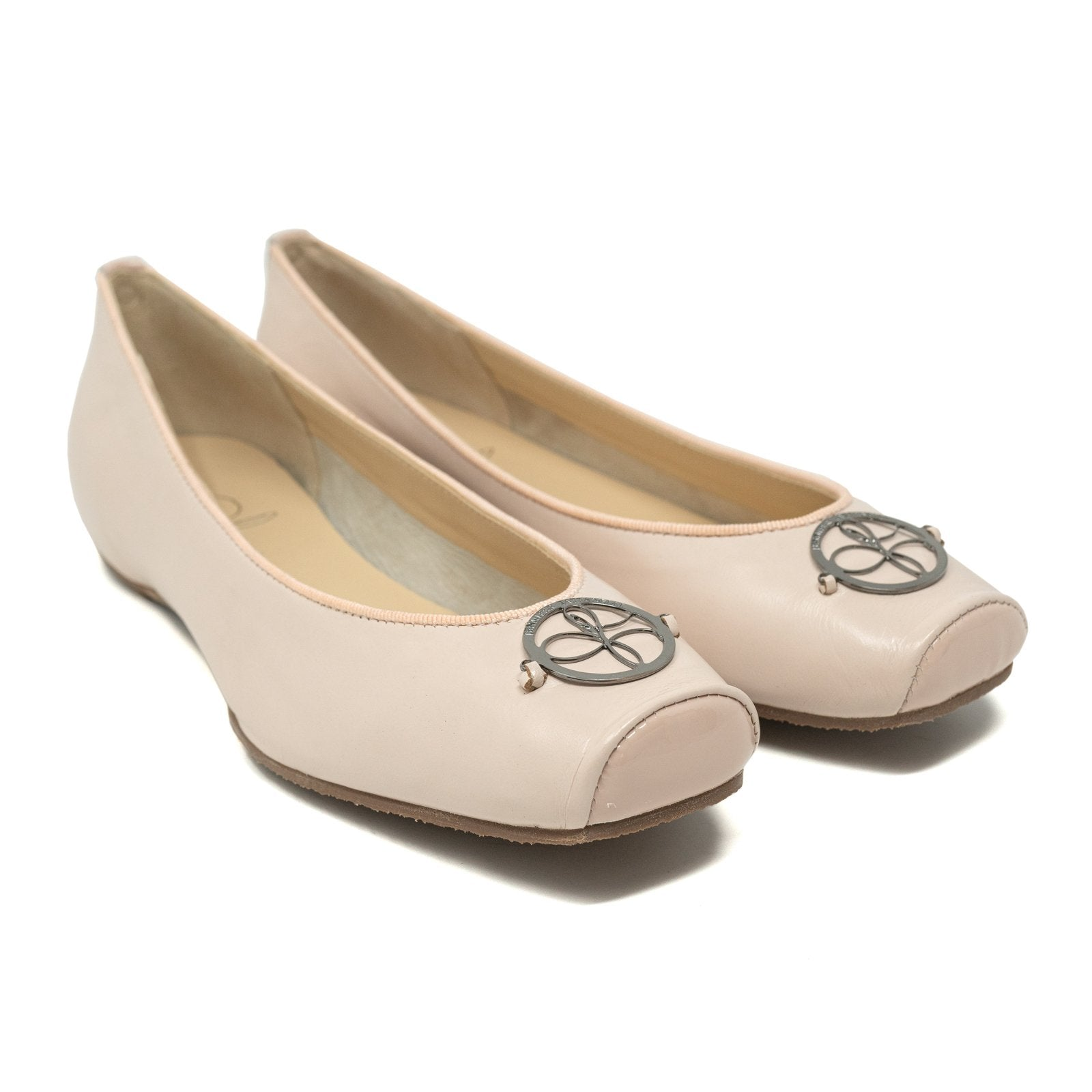 Women Ballerina Shoes with hidden heel in Nappa Nude - Jennifer Tattanelli