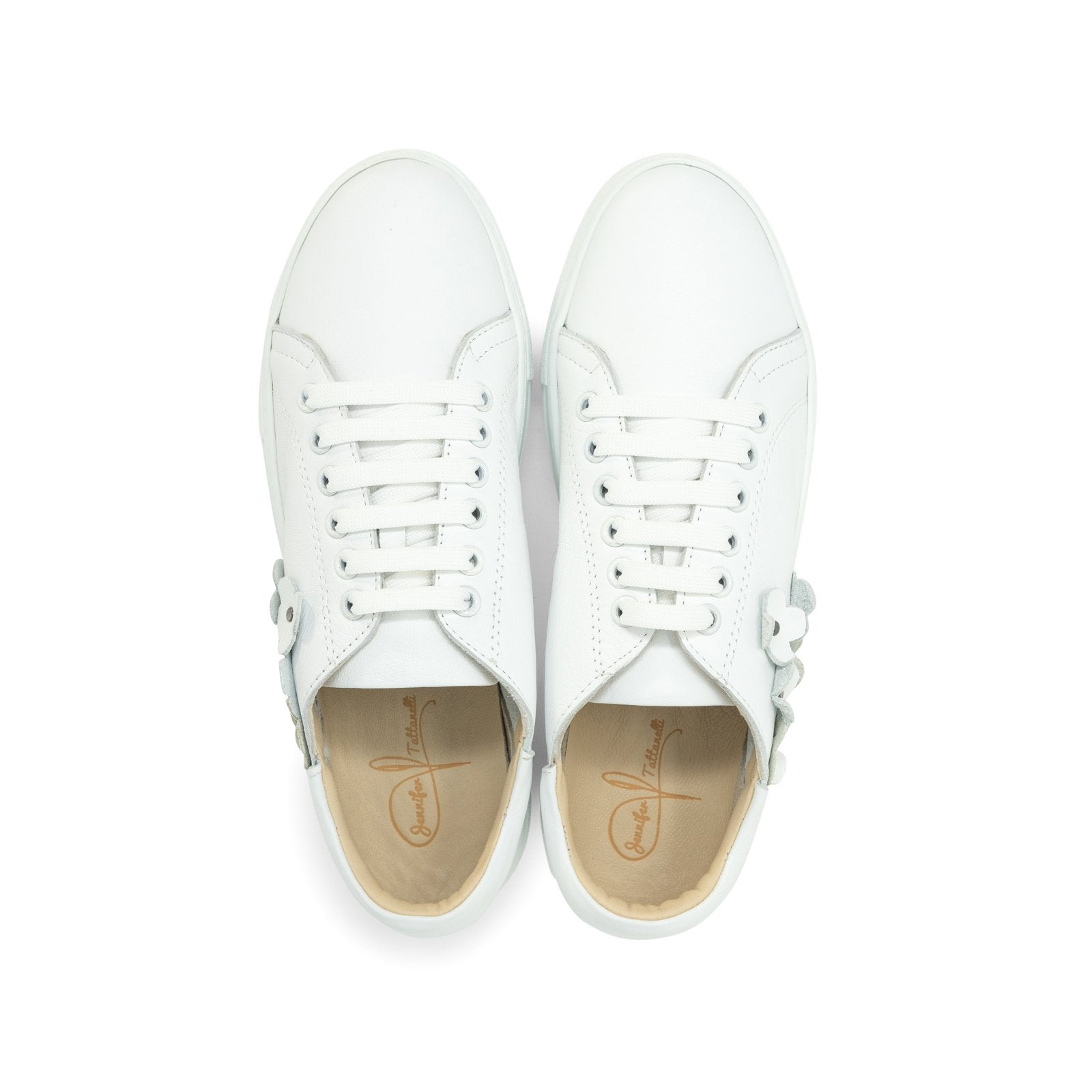 Women Flower Memory Foam Sneakers in White - Jennifer Tattanelli