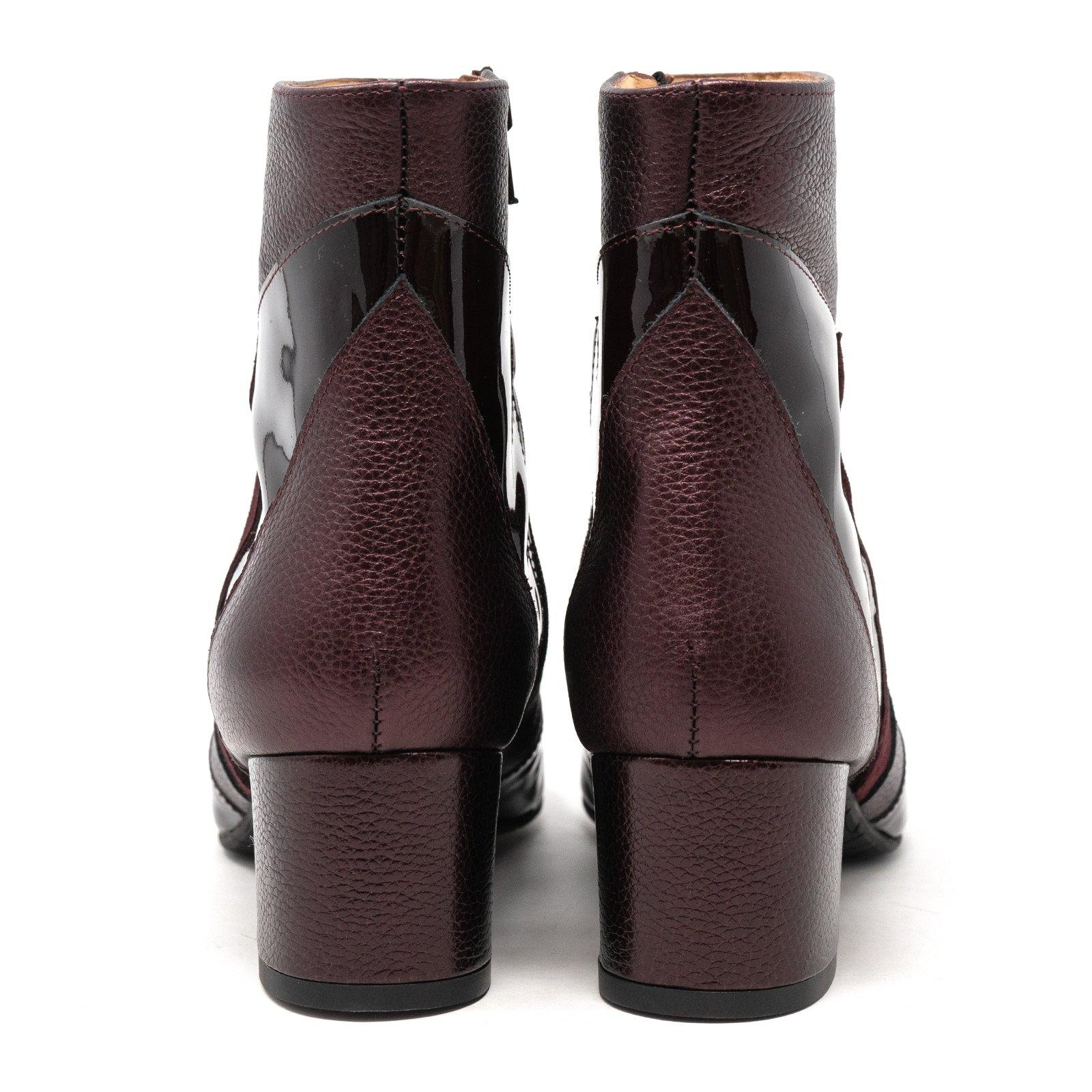 Women Dressy Leather Booties in Metallic Burgundy