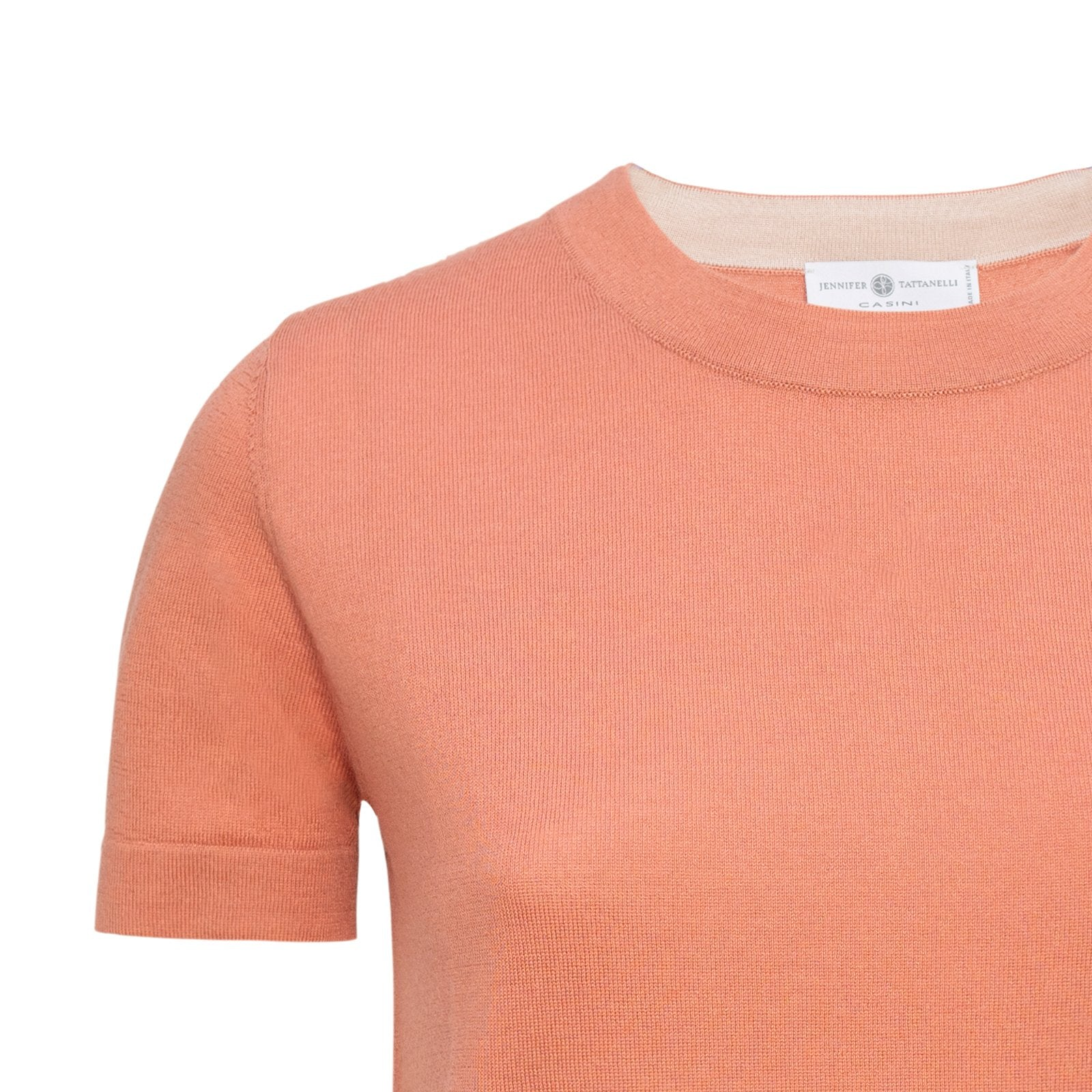 Women Cashmere Knitwear T-Shirt in Terracotta - Jennifer Tattanelli