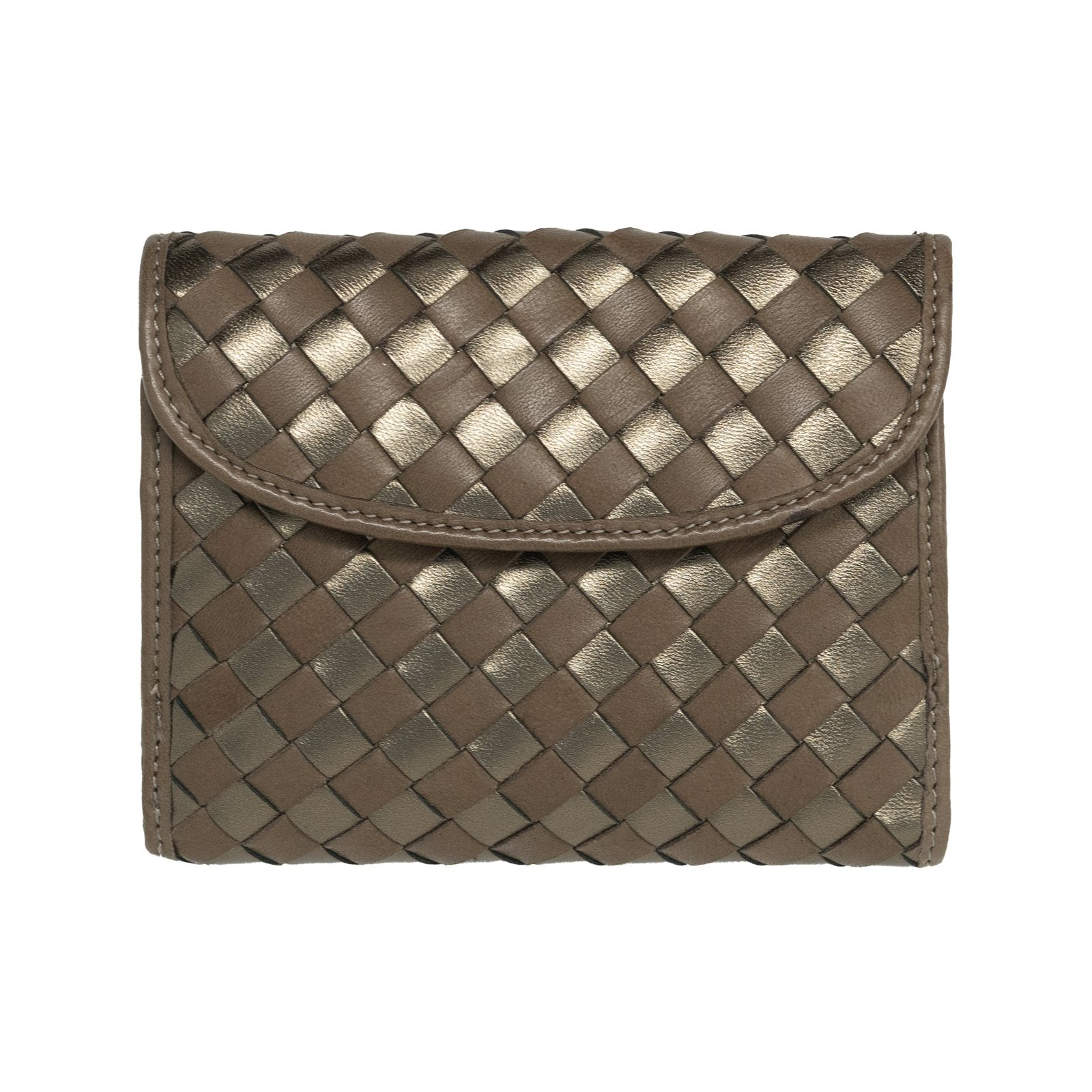 Women Intrecciato Leather Wallet in Bronze - Jennifer Tattanelli
