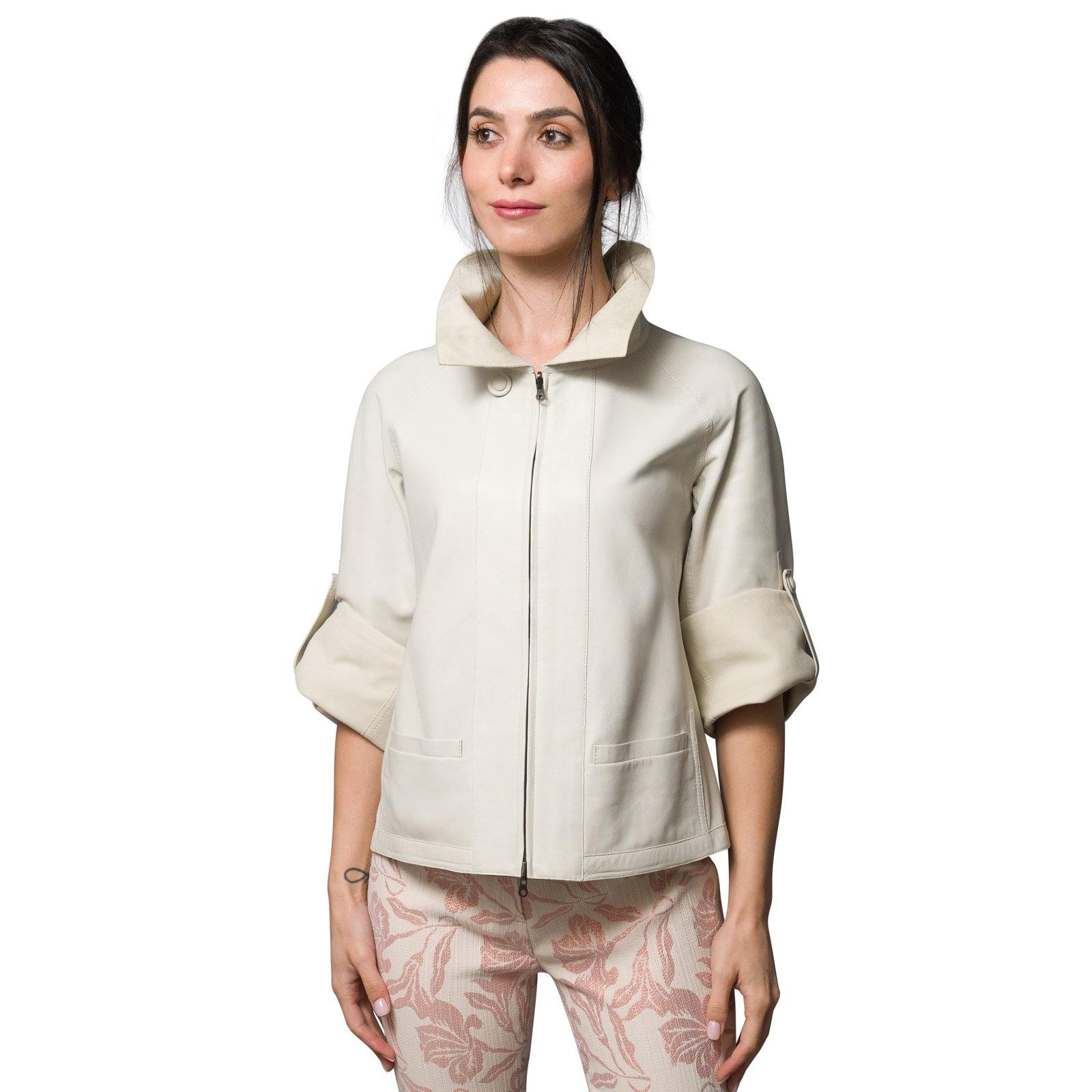 Audrey Reversible Pieno Fiore Leather Jacket in Ice