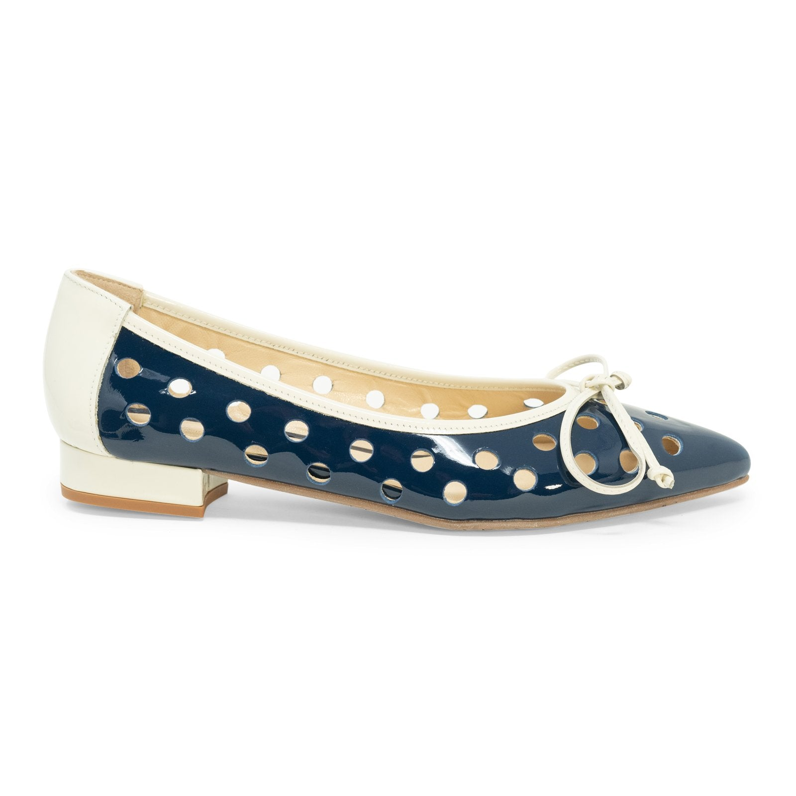 Women Patent Leather Ballerina Flats in Blue - Jennifer Tattanelli