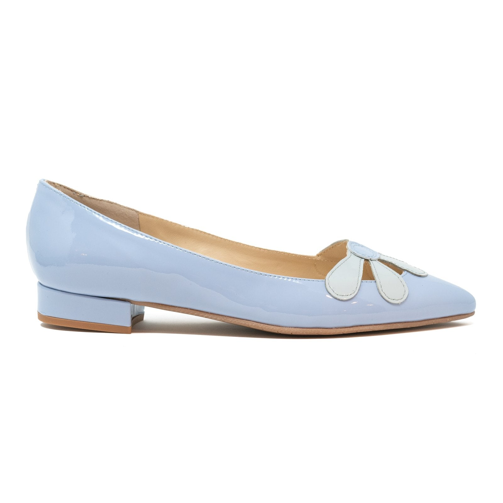 Women Pointed Ballet Flats With Flower in Avio - Jennifer Tattanelli
