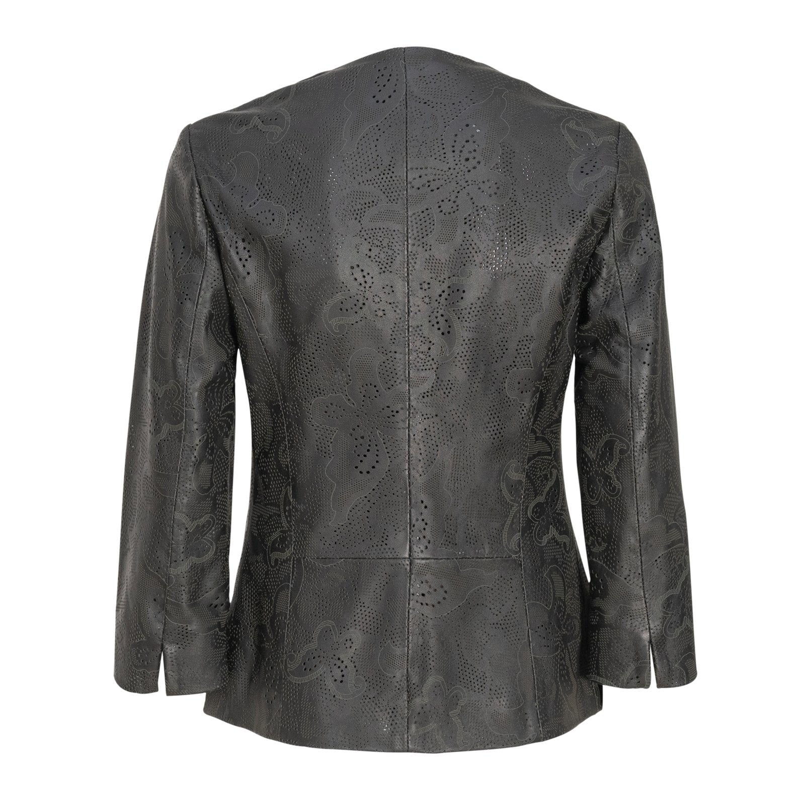 Women Short Leather Lasered Jacket PIAE206L - Jennifer Tattanelli