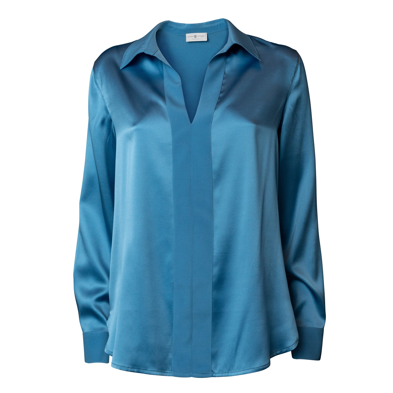 Long Sleeve Buttonless Silk Blouse in Azzurro