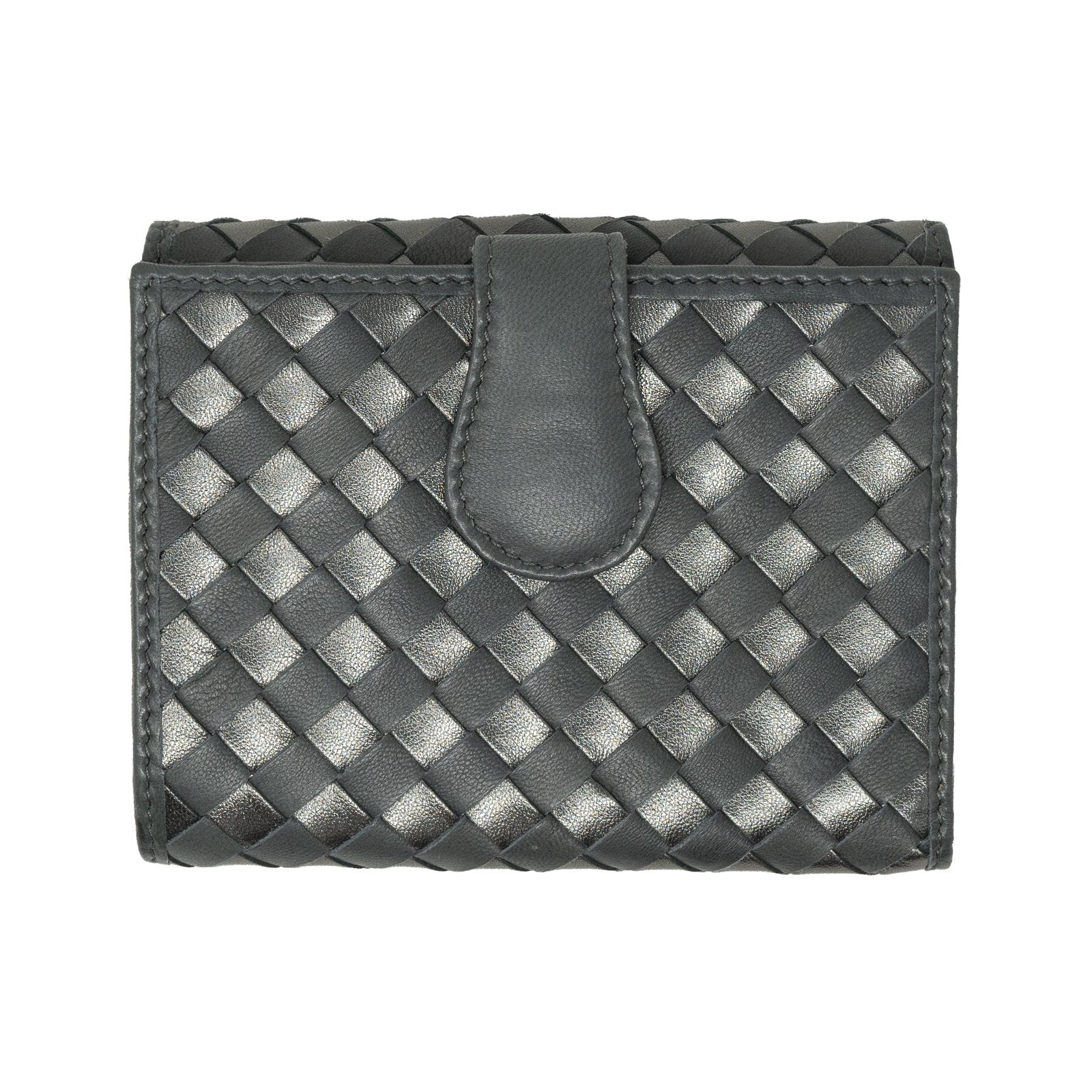 Women Intrecciato Leather Wallet in Gun Metal - Jennifer Tattanelli