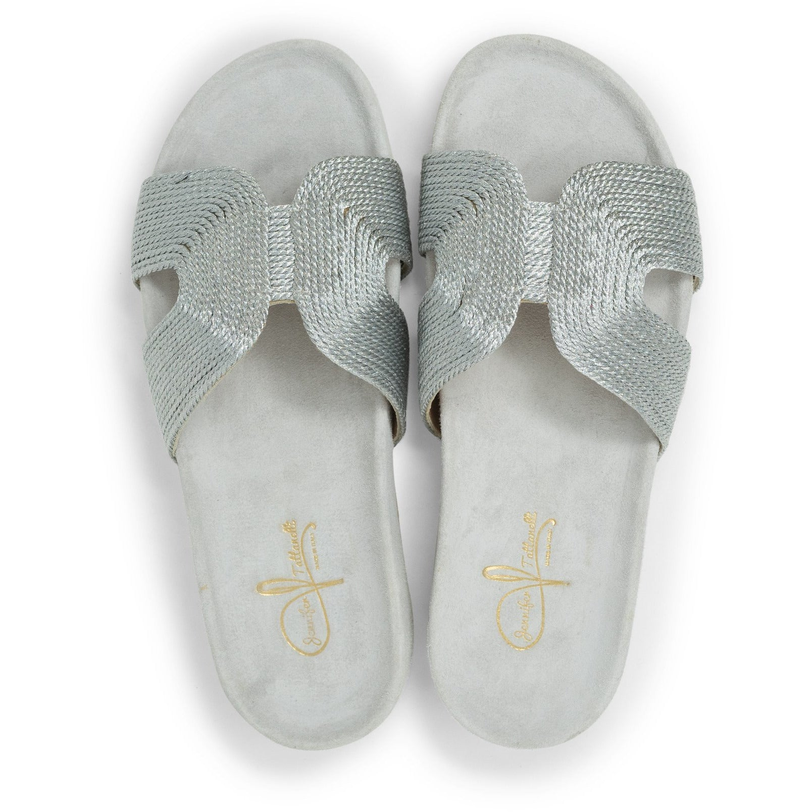 Women Slip On Suede Sandals in silver - Jennifer Tattanelli