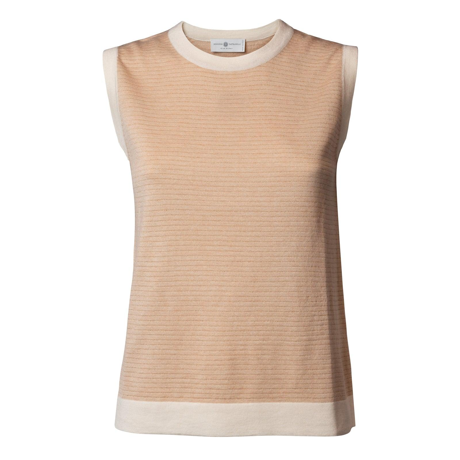 Women's Silk Top In Blush With Lurex