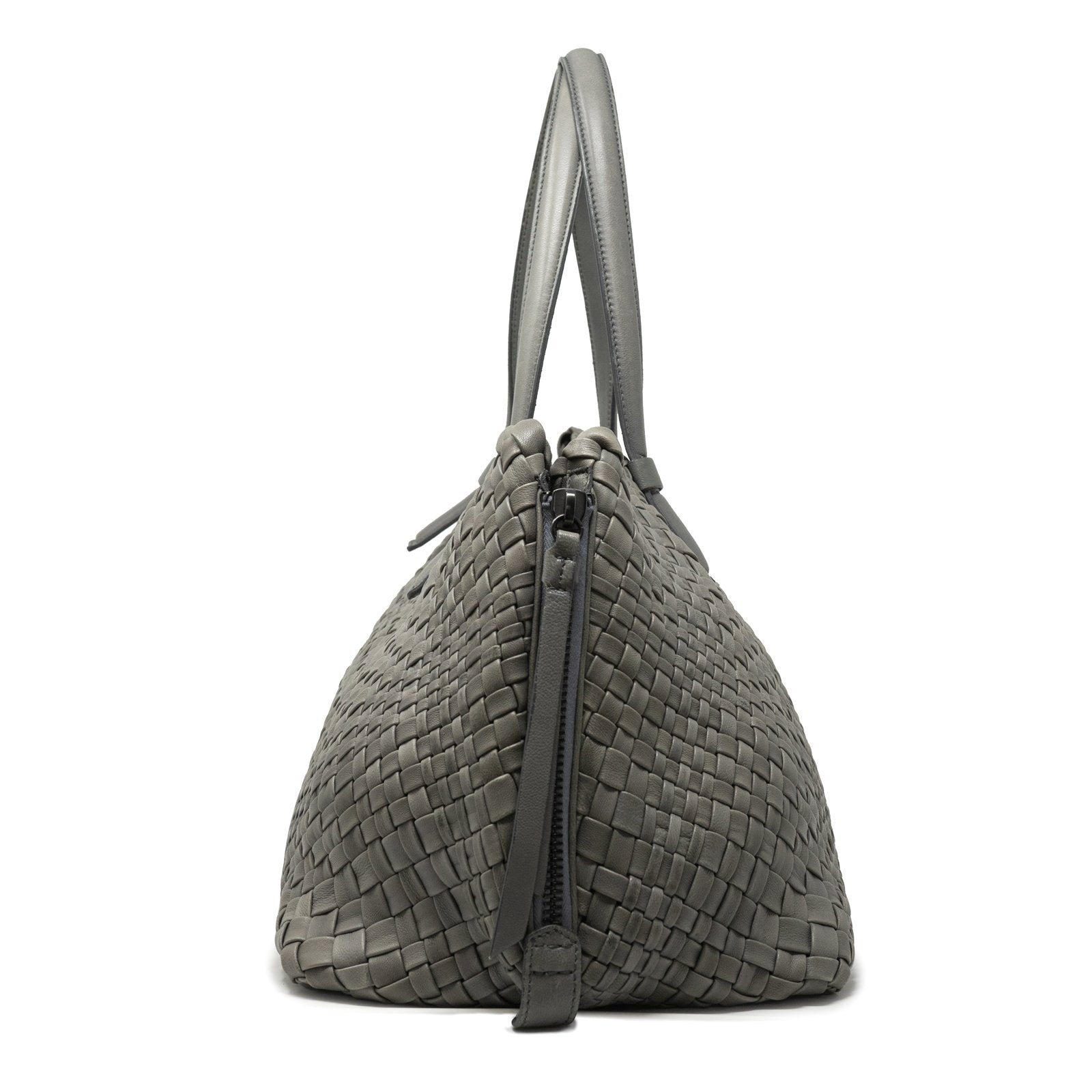 Women Intrecciato Optical Zippered Shopping Bag in Dark Grey - Jennifer Tattanelli