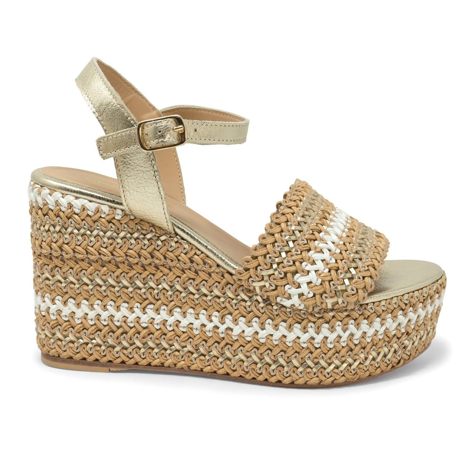 Women Platform Wedge Sandals in Platinum and White