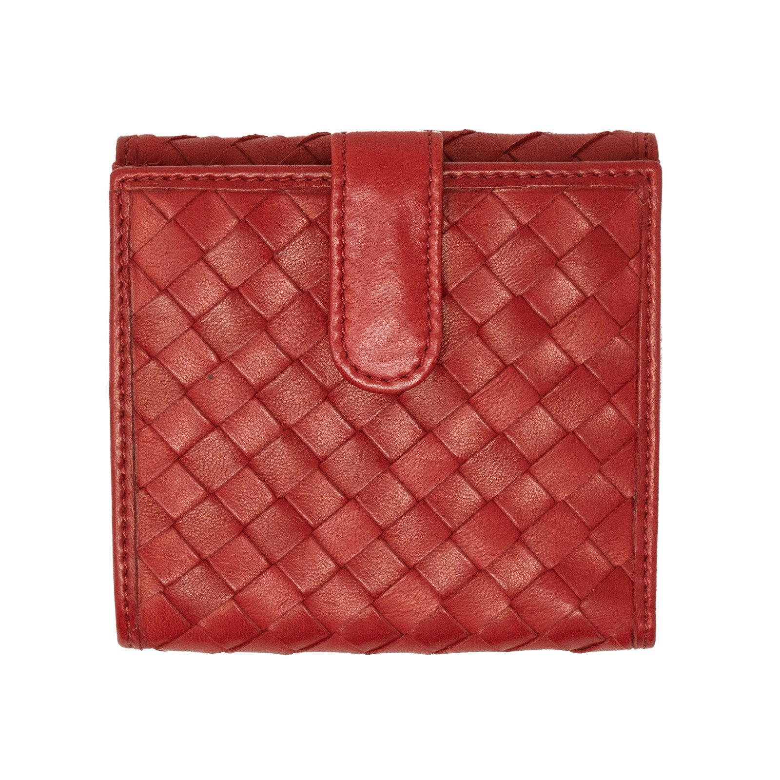 Women Intrecciato Leather Wallet in Red - Jennifer Tattanelli