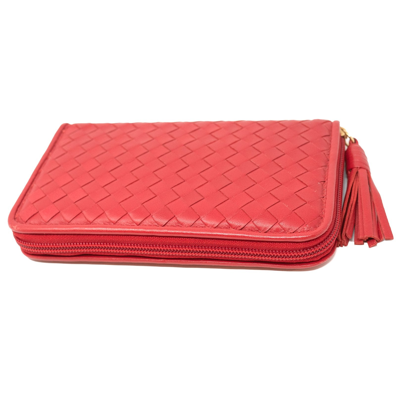 Women Intrecciato Diagonale Leather Zippered Wallet REC6461 - Jennifer Tattanelli