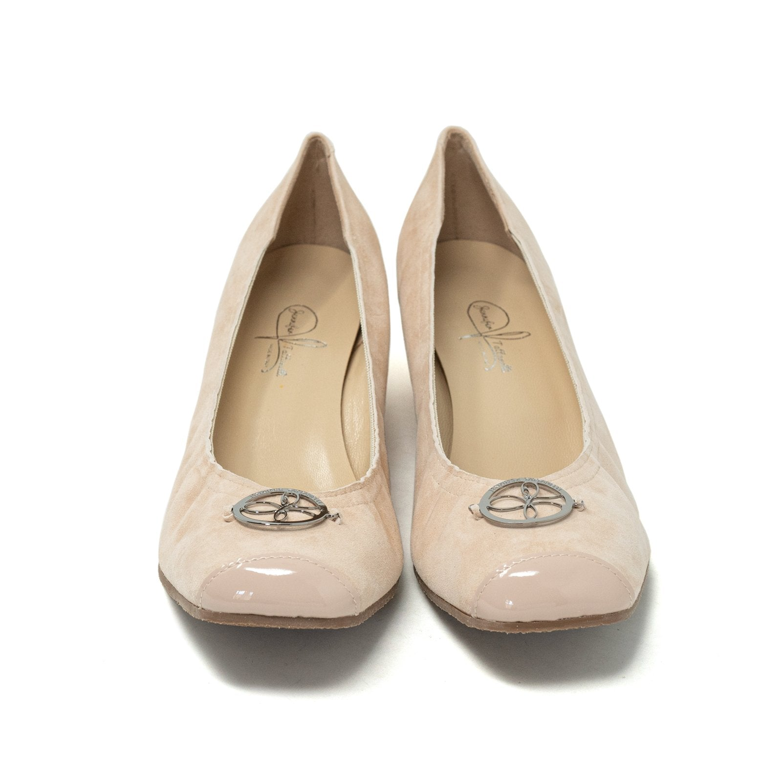 Women Ballerina Shoes with Wedge in Suede Nude - Jennifer Tattanelli