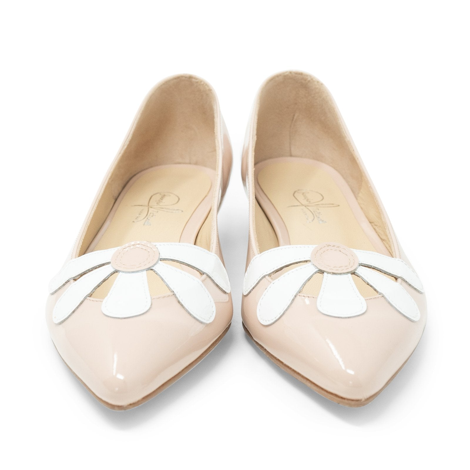 Women Pointed Ballet Flats with Flower in Cipria - Jennifer Tattanelli