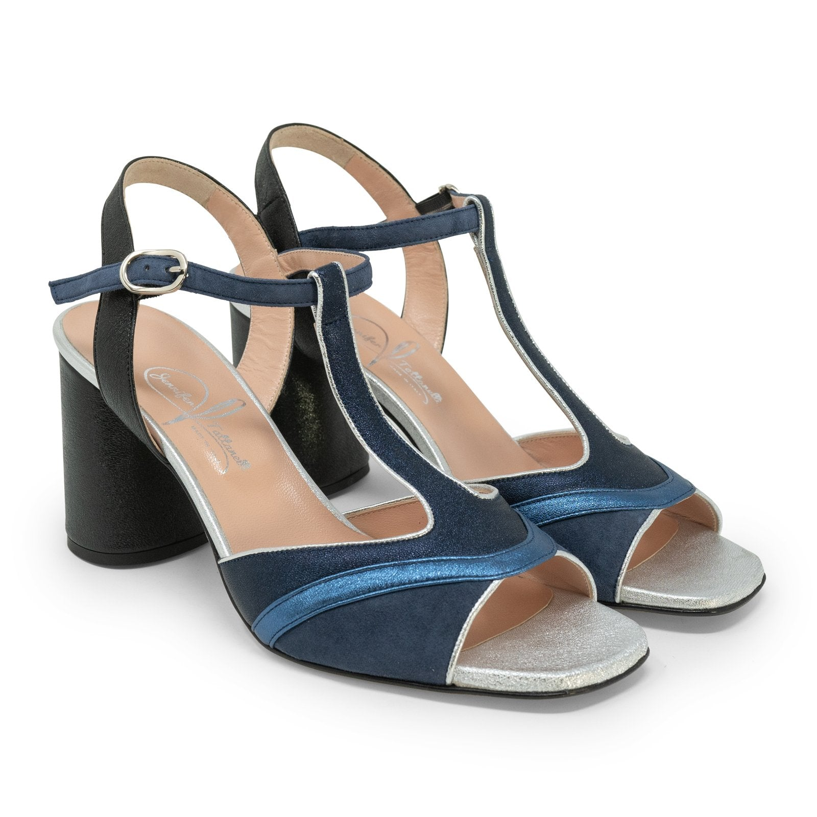 Women High Heel Block Sandals in Blue - Jennifer Tattanelli