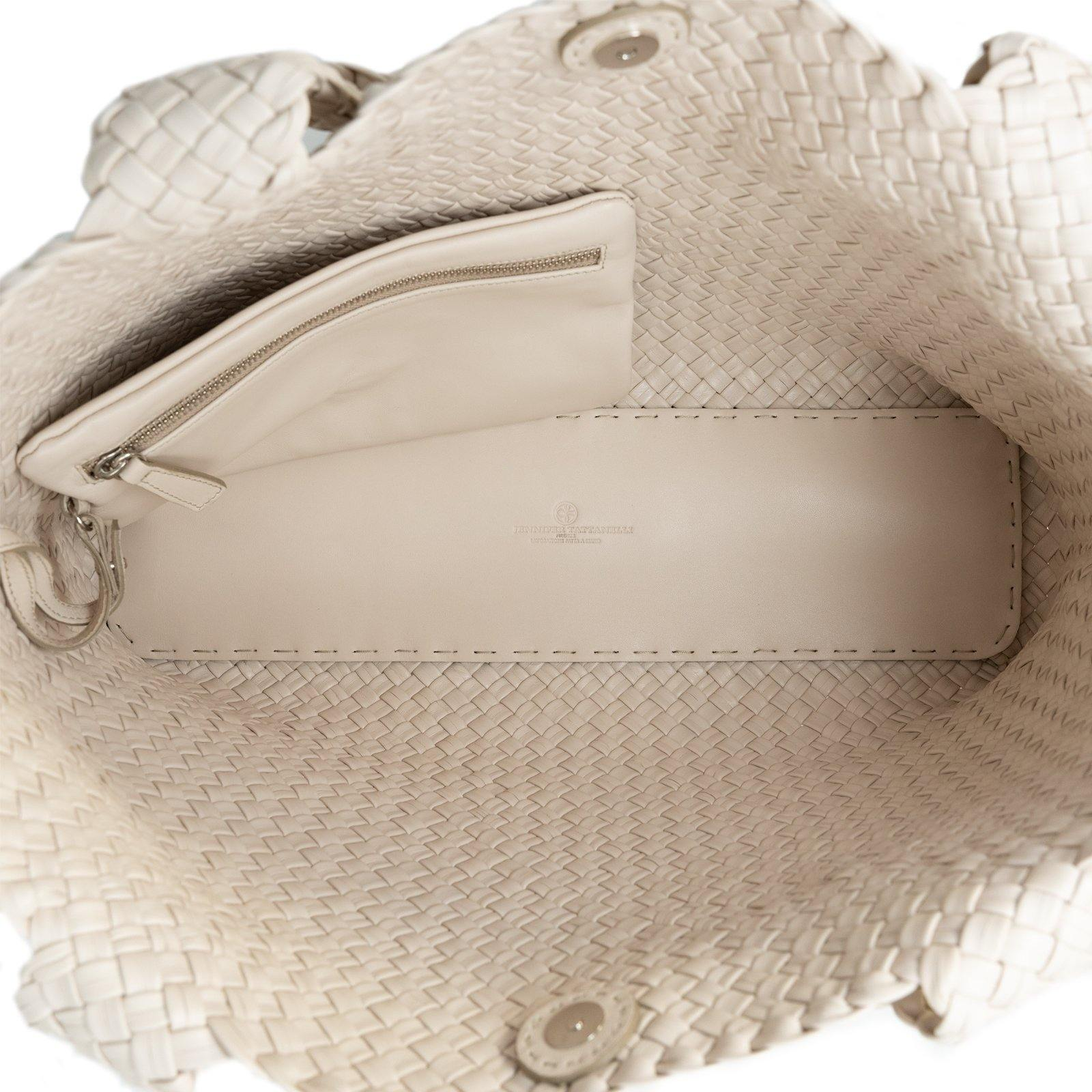 Women Leather Cream Intreccio Quadro Bag