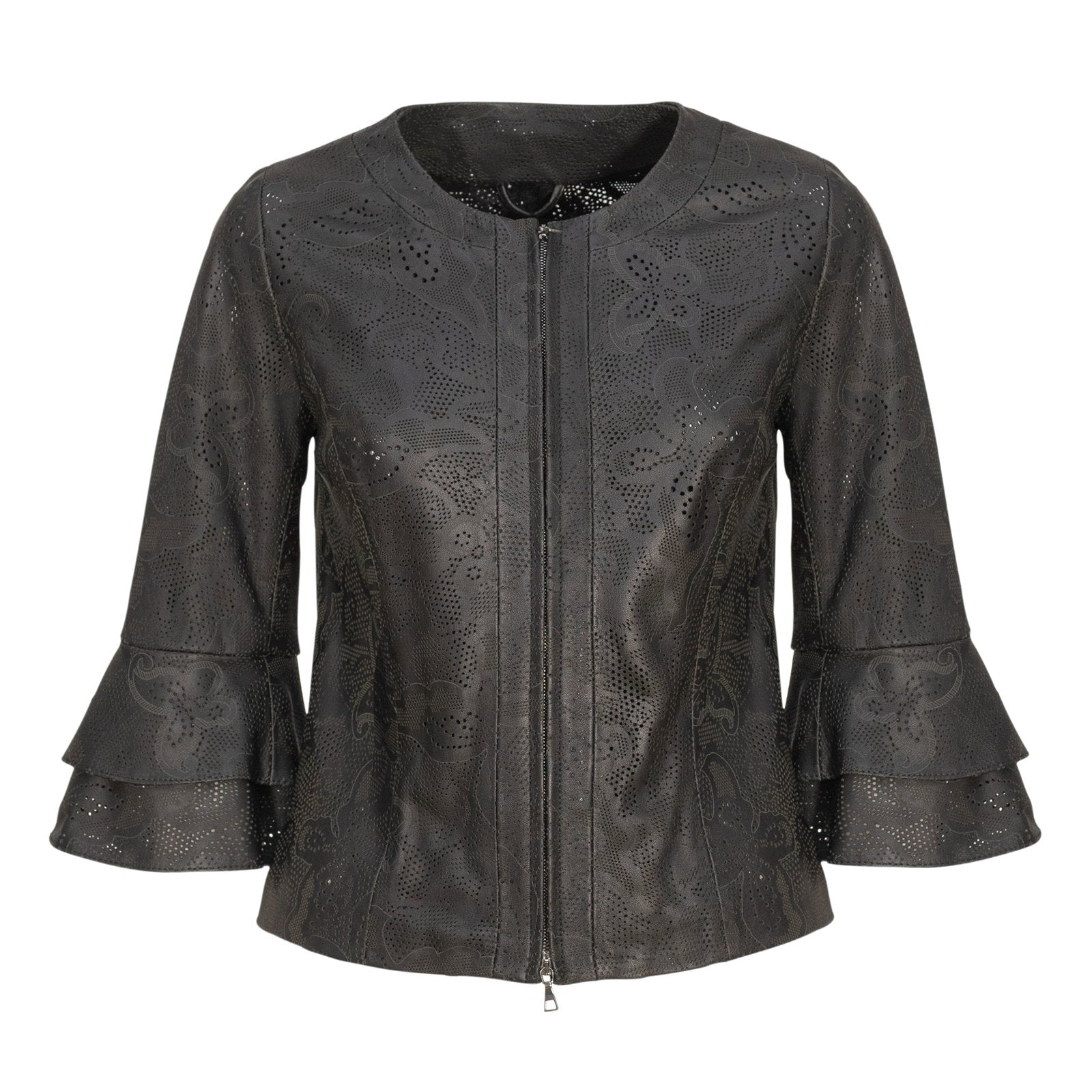Women Short Laser-Cut Leather Jacket in Black - Jennifer Tattanelli